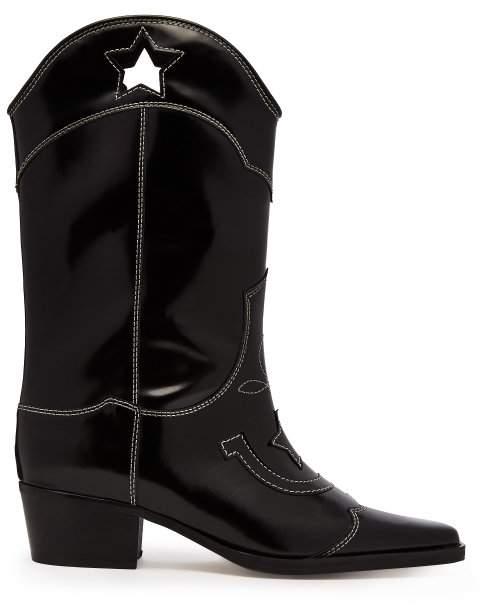 GANNI Marlyn Western Leather Boots