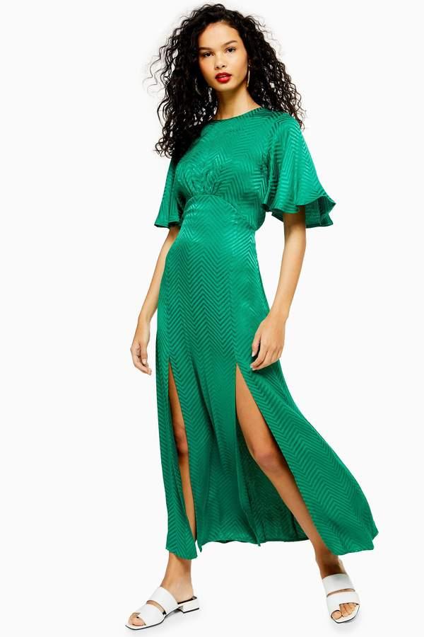Topshop AUSTIN Jacquard Angel Sleeve Maxi Dress