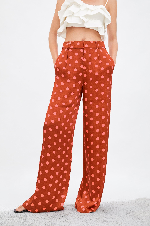 Zara limited edition wide leg polka dot pants