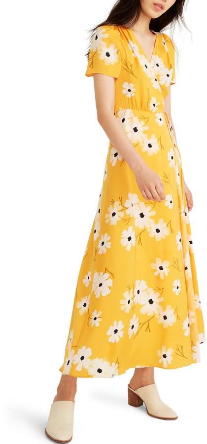 Madewell Ikat Floral Puff Sleeve Wrap Dress