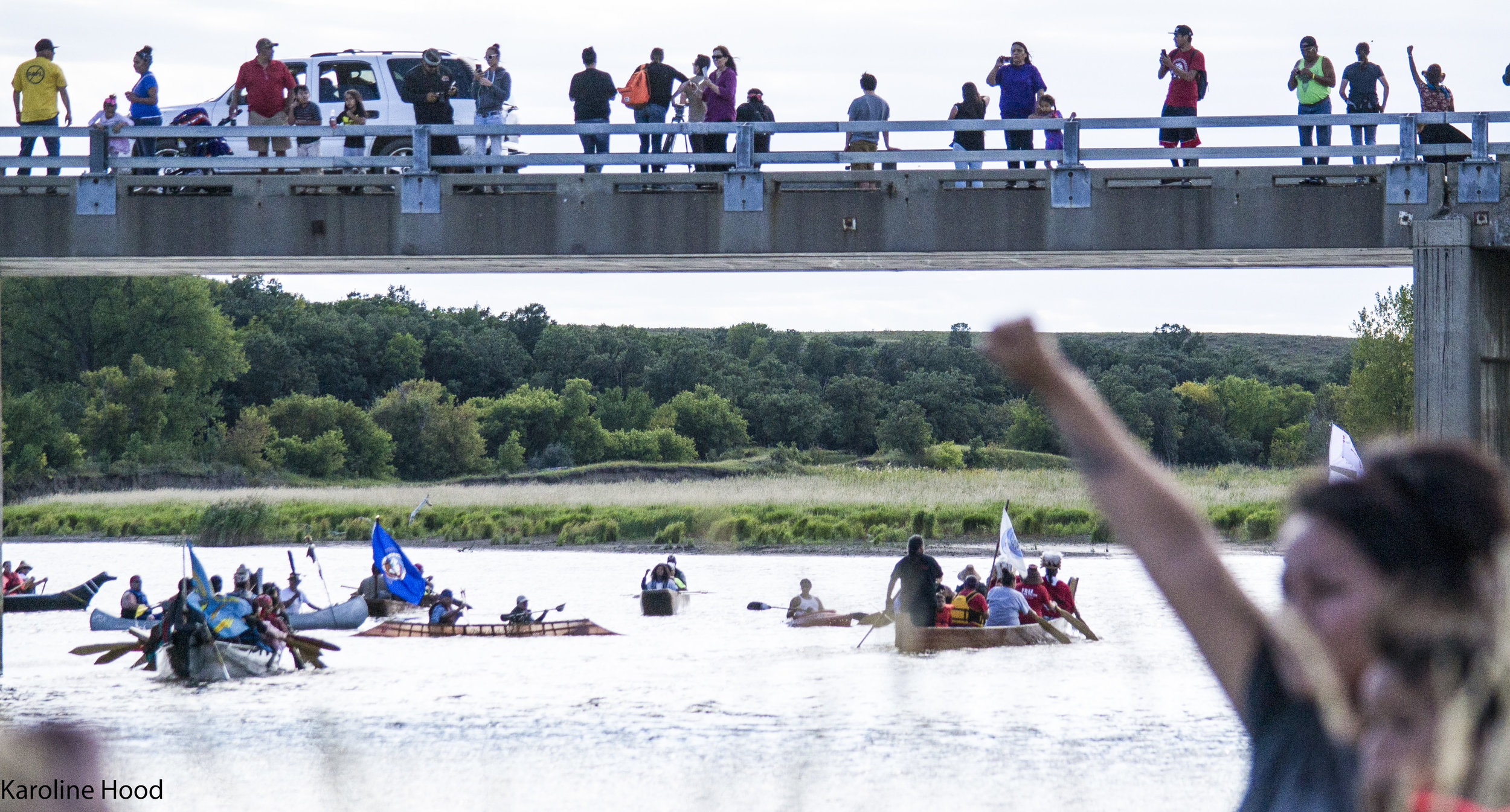 Different tribes came by Canoe to join other tribes at standing rock. We waited on the banks for the Canoes.