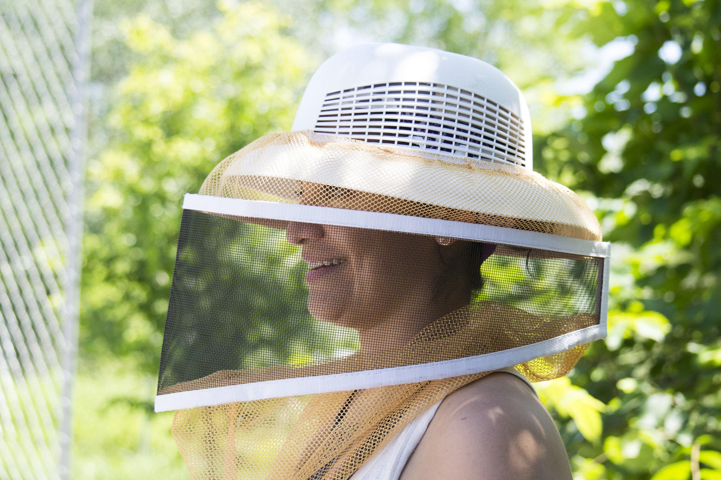 Lady beekeeper. Urban beekeeper
