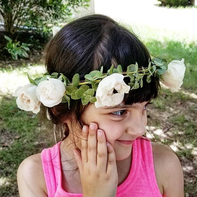 my little intern testing out the flower girl crown for today's wedding.. #flowercrown #flowergirl #hairflowers #summerwedding #summerbride #gardenwedding #outdoorceremony #greenery #eucalyptus #sprayrose #raleighflowers #raleighwedding #raleighflorist #oakcity