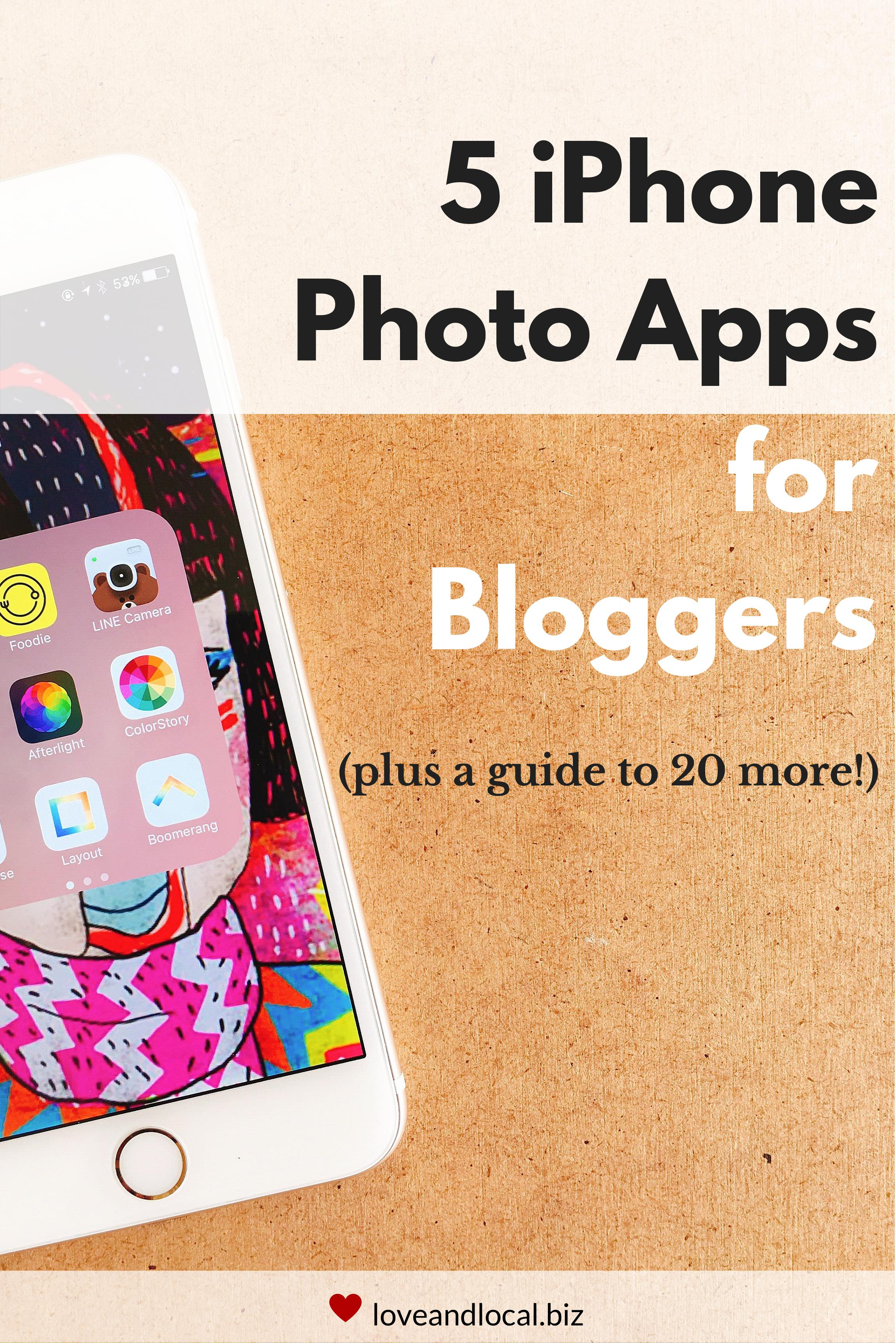 If you're using your iPhone for your blog or business photos, here's 5 apps that you should be using. Plus a free guide with 20 more apps if you're ready to take your visual content to the next level! | #blogging #blogphotography #branding |  from loveandlocal.biz