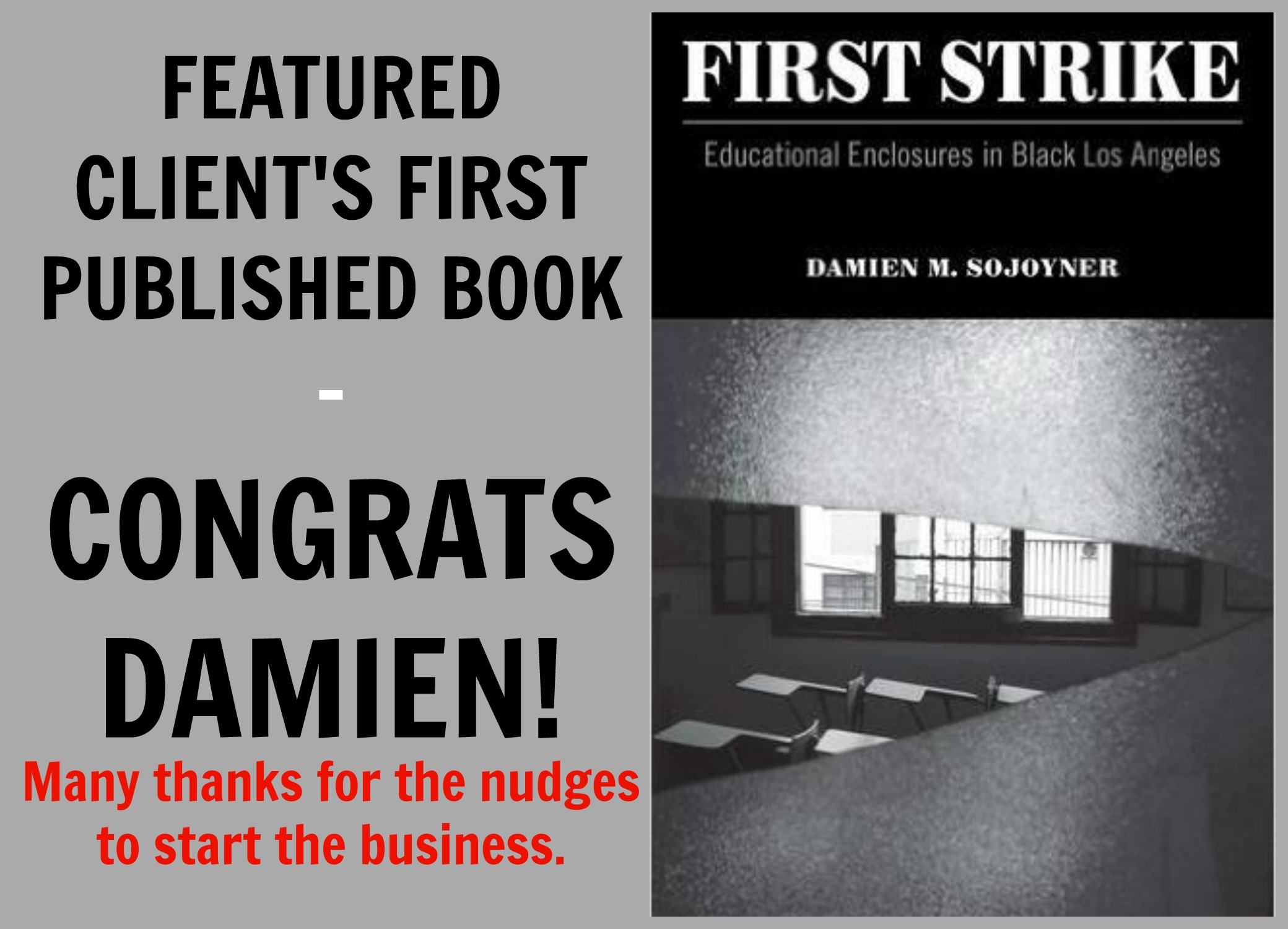 "FIRST STRIKE:   Educational Enclosures in Black Los Angeles   Author:  Damien Sojoyner   SYNOPSIS:   California is a state of immense contradictions.  Home to colossal wealth and long portrayed as a bastion of opportunity, it also has one of the largest prison populations in the United States and consistently ranks on the bottom of education indexes. Taking a unique, multifaceted insider's perspective,  First Strike  delves into the root causes of its ever-expansive prison system and disastrous educational policy.   Recentering analysis of Black masculinity beyond public rhetoric,  First Strike  critiques the trope of the ""school-to-prison pipeline"" and instead explores the realm of public school as a form of""enclosure"" that has influenced the schooling (and denial of schooling) and imprisonment of Black people in California. Through a fascinating ethnography of a public school in Los Angeles County, and a ""day in the life tour"" of the effect of prisons on the education of Black youth, Damien M. Sojoyner looks at the contestation over education in the Black community from Reconstruction to the civil rights and Black liberation movements of the past three decades.   Policy makers, school districts, and local governments have long known that there is a relationship between high incarceration rates and school failure.  First Strike  is the first book that demonstrates why that connection exists and shows how school districts, cities and states have been complicit and can reverse a disturbing and needless trend. Rather than rely upon state-sponsored ideological or policy-driven models that do nothing more than to maintain structures of hierarchal domination, it allows us to resituate our framework of understanding and begin looking for solutions in spaces that are readily available and are immersed in radically democratic social visions of the future.    Check it out."