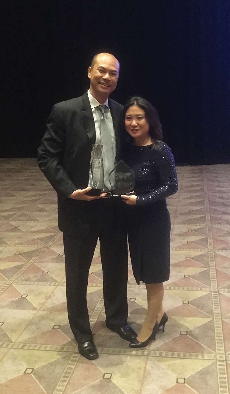 Chairman award recipient Erika Shinzato Platinum award recipient Erika's Home Selling Team  Broker Associate David Chung & Erika Shinzato.