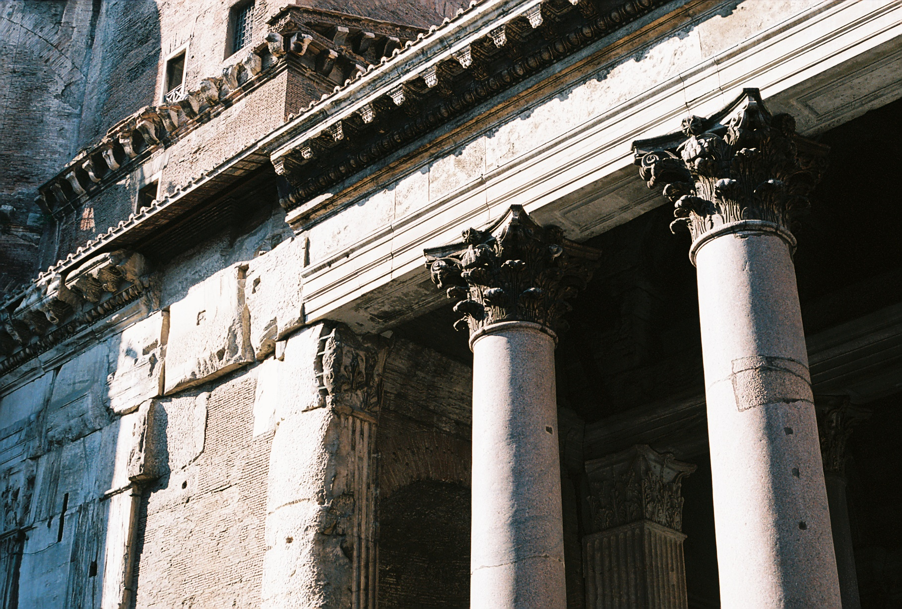 Columns of the Pantheon in Rome, Italy.