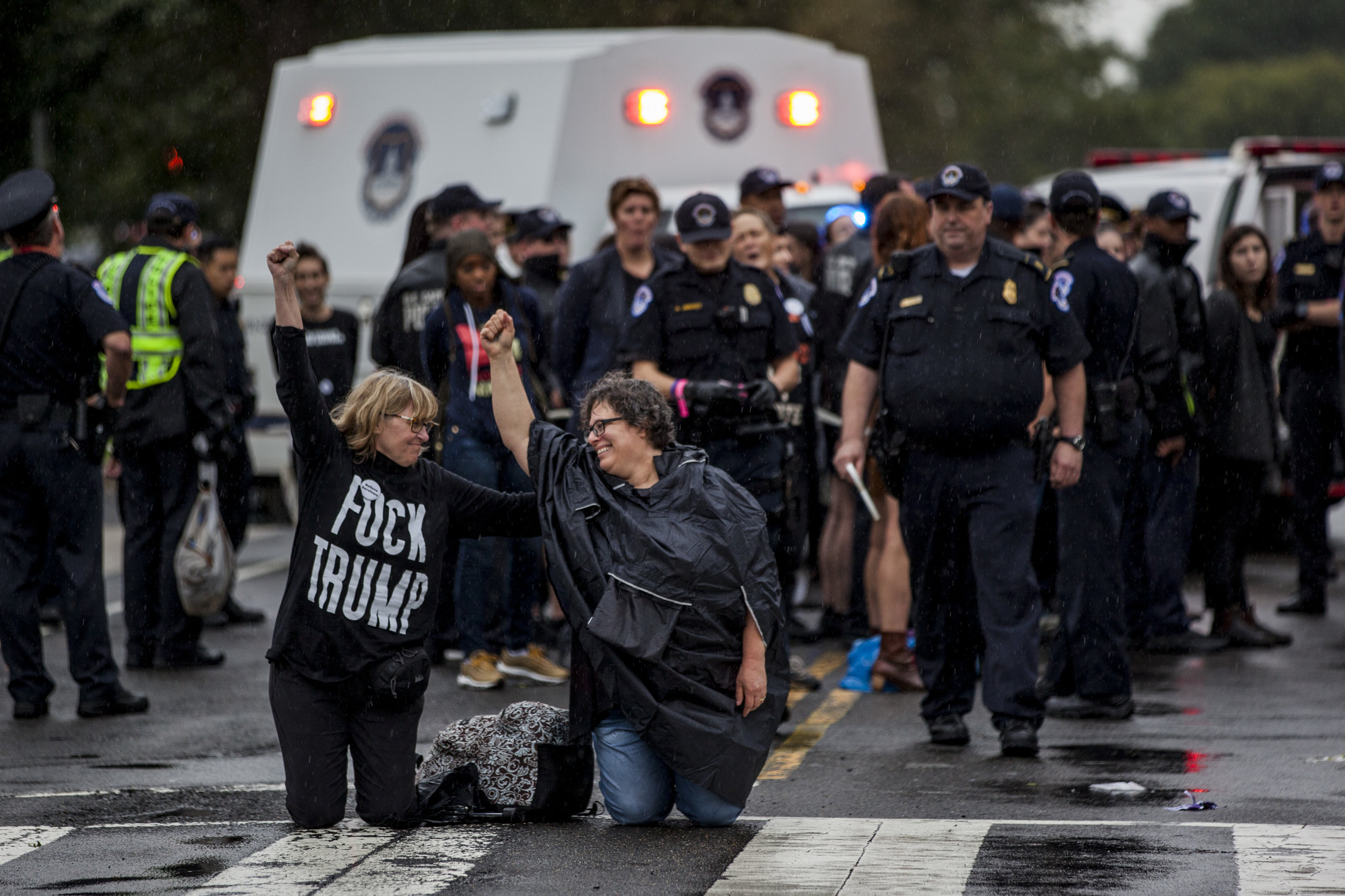 "Activists participating in the demonstration organized by the Women's March titled ""Cancel Kavanaugh: We Believe Christine,"" are arrested outside the Supreme Court on September 27th, 2018"