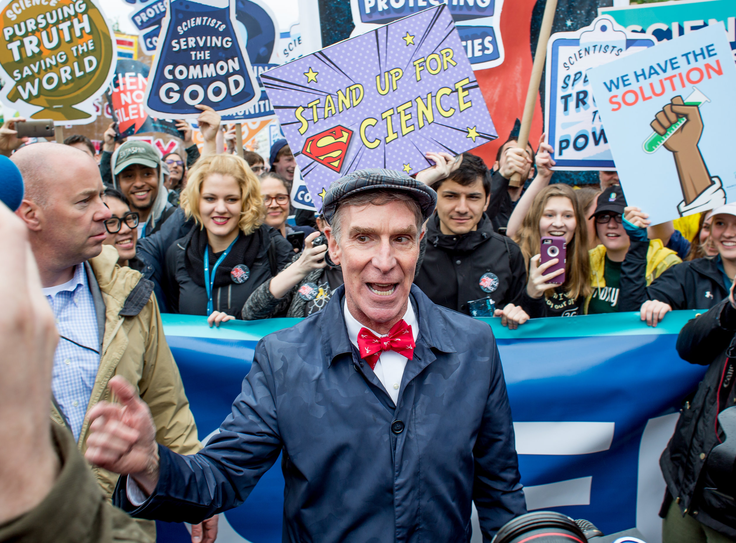 Bill Nye the Science Guy speaks activists before the start of the March for Science in Washington DC on April 22, 2017