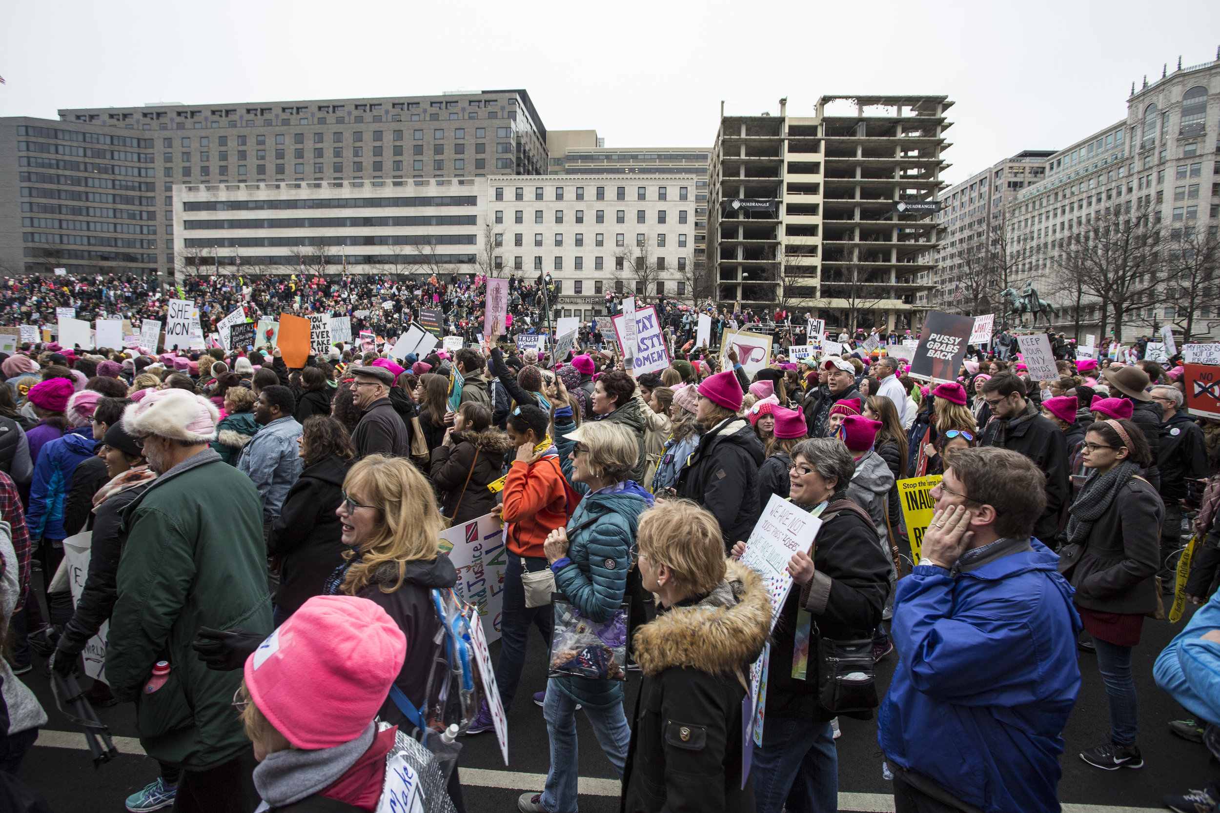 People participate in the 2017 Women's March on Washington DC on January 21st