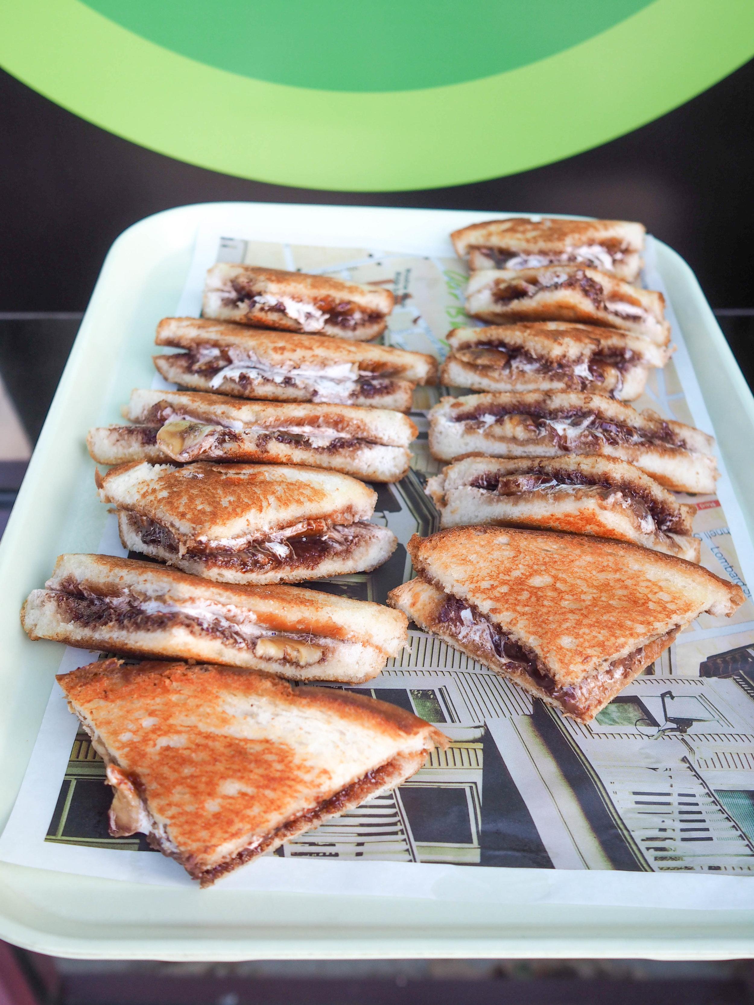 Grilled Fluffanutta - fresh sliced banana, peanut butter, fluff & Nutella