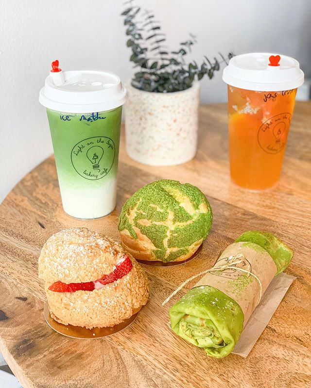 Matcha everything at @lightonthesugar grand opening today with 50% everything! 😍🍵 #creampuff #creperoll #matchalatte