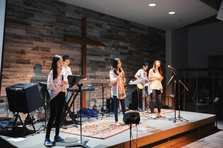 Worshiping God led by worship team