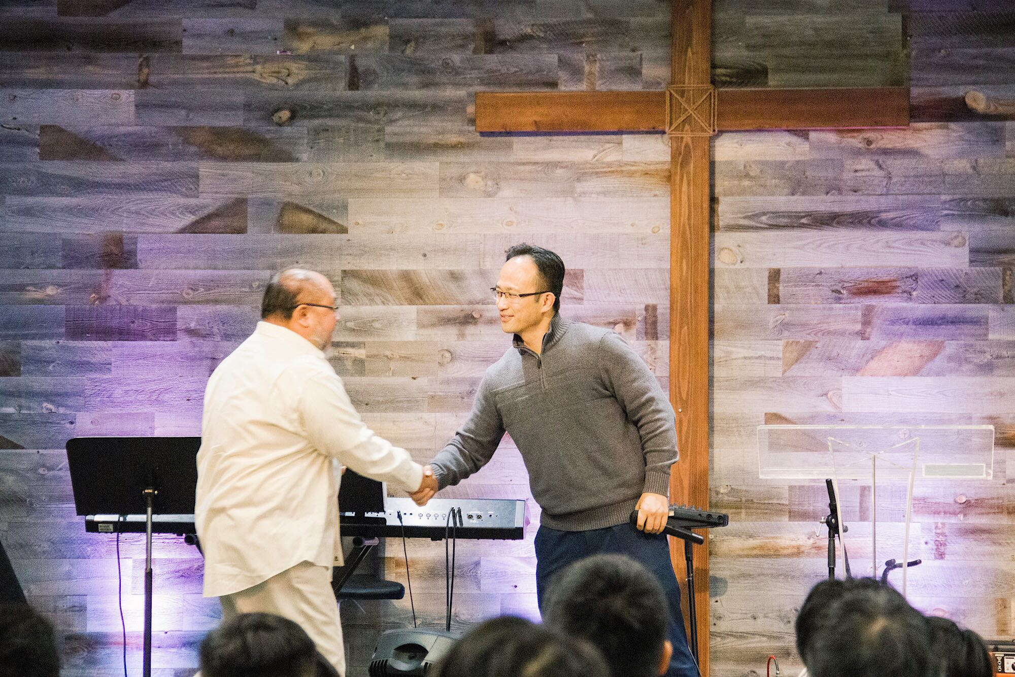 Pastor KC welcoming Pastor Willy