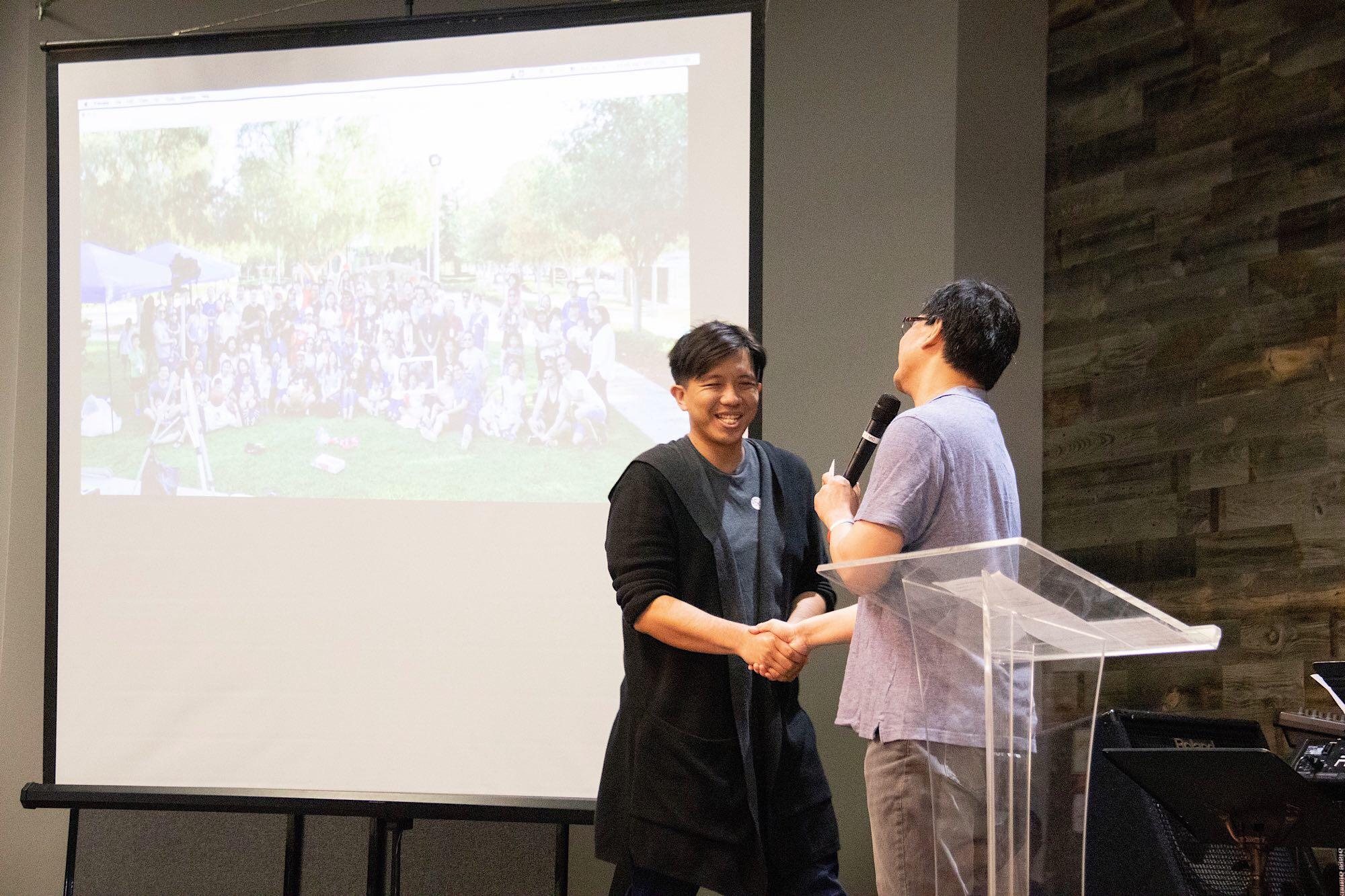 Pastor Ben appreciating Miles for his organizing 1.5G bonding event on 7/13