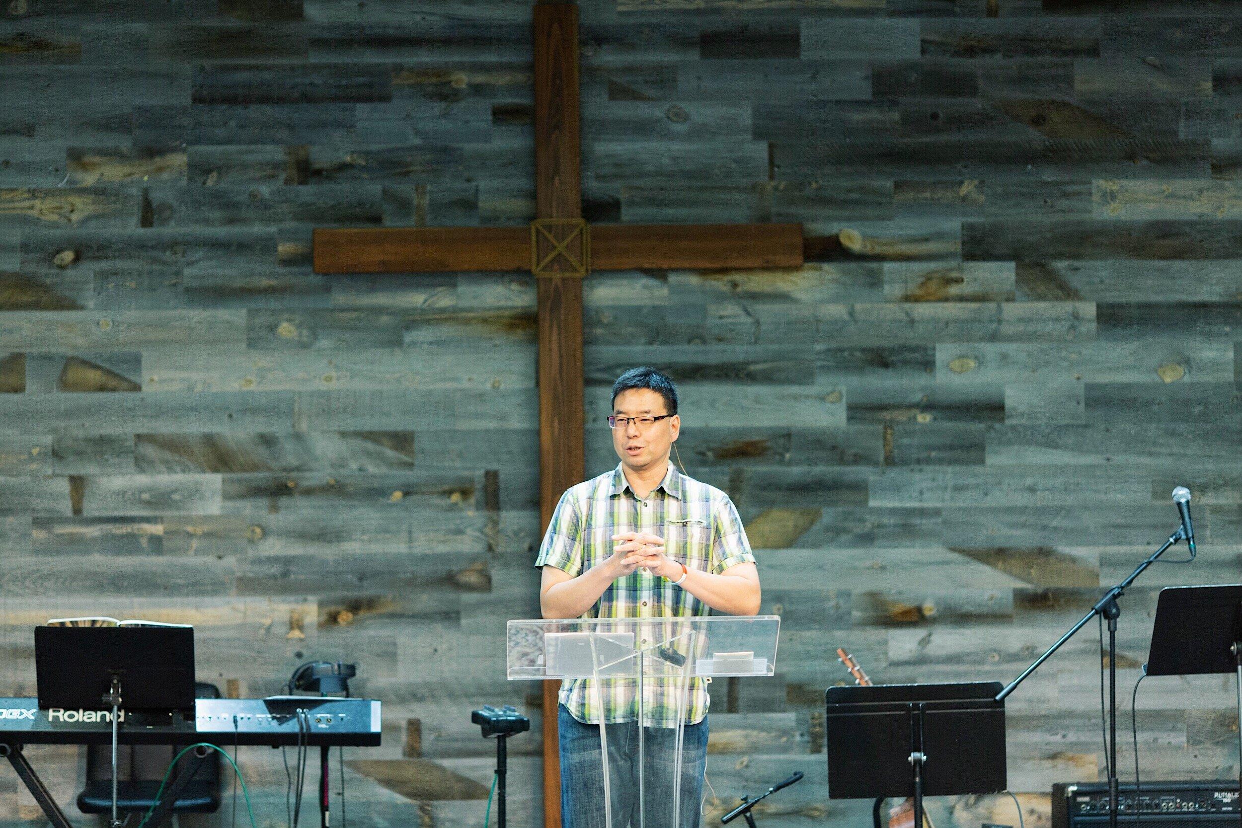 Pastor Ben making announcement