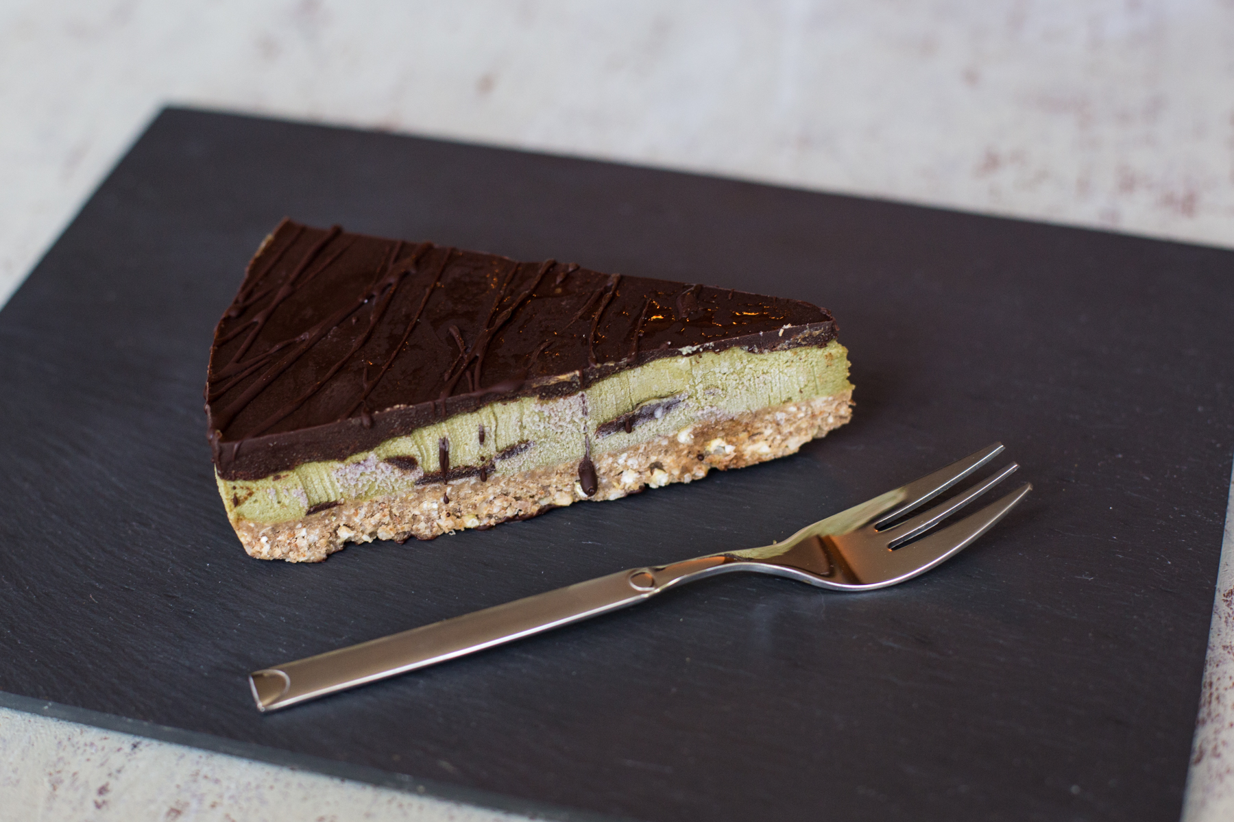 Raw chocolate matcha torte