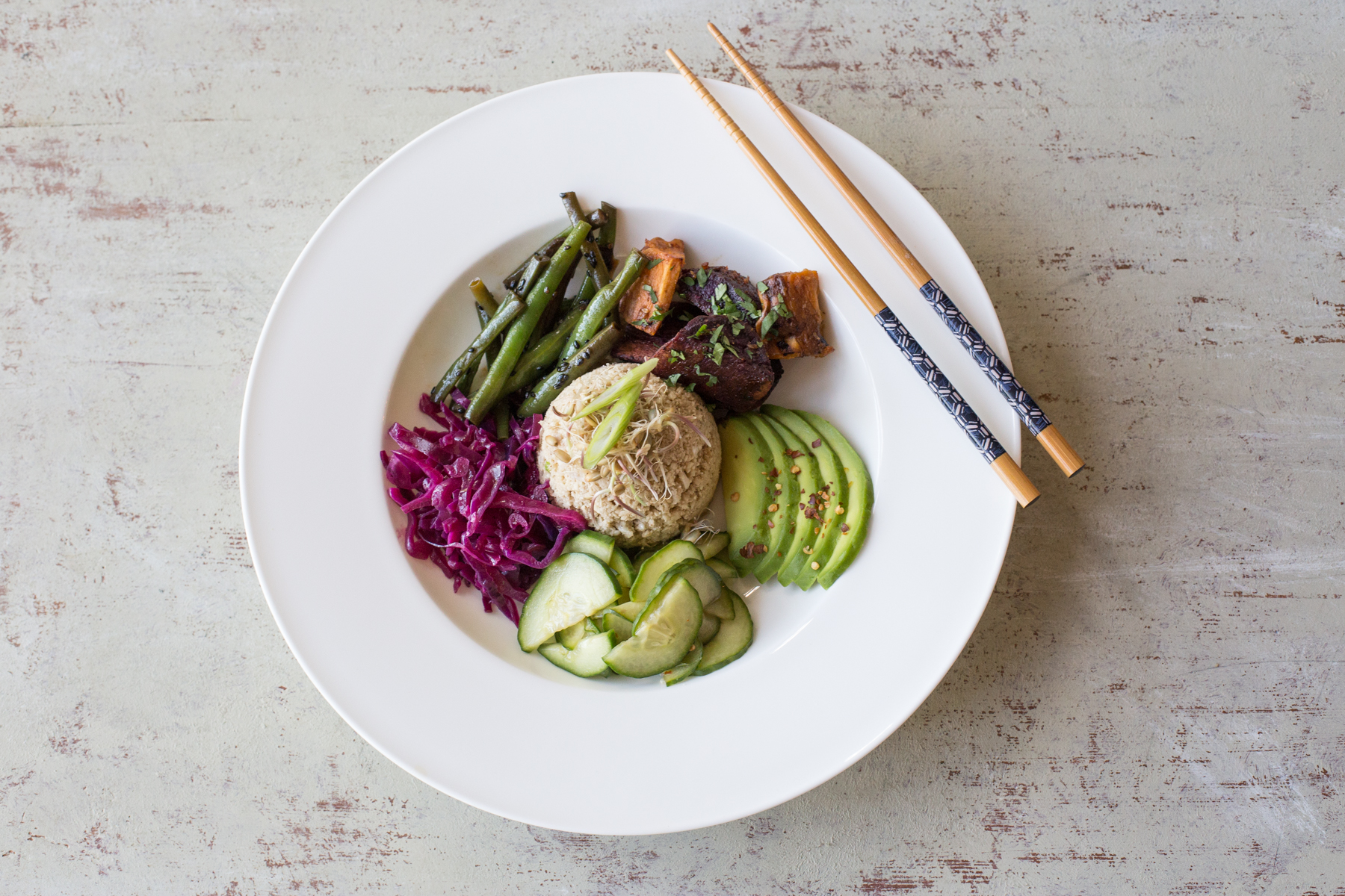 Japanese Goodness Bowl with cauli coconut sticky rice, pickles greens and tofu
