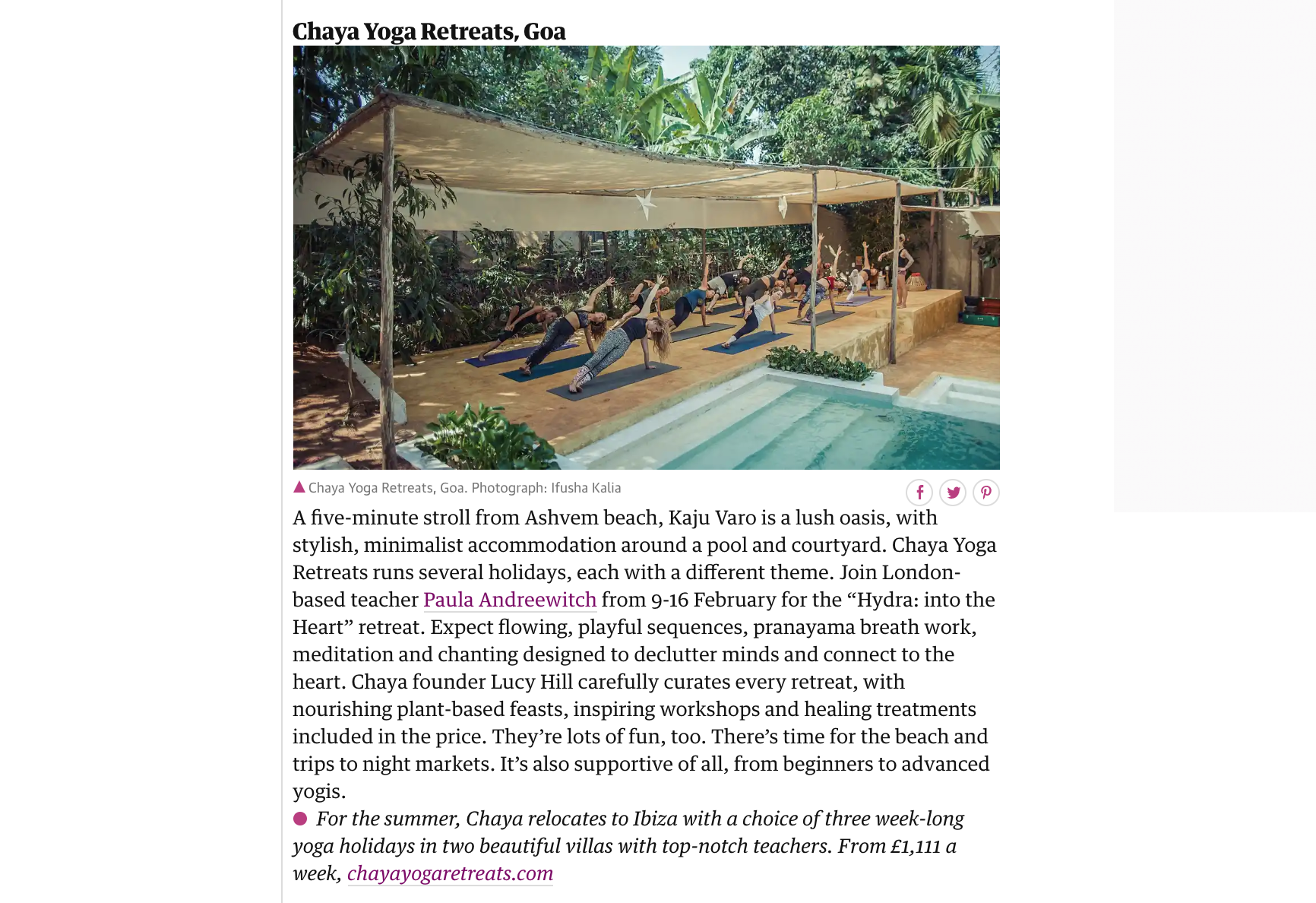 The Observer Travel Best Worldwide Retreats,  October 2018