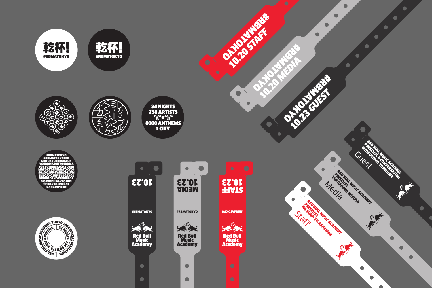 Various badge, sticker, and wristband designs and proposals