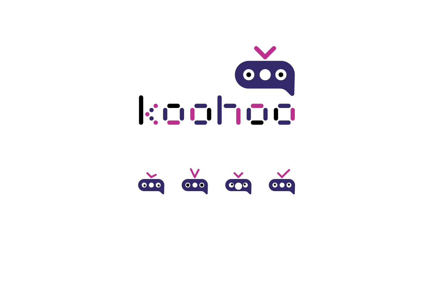 Logotype for AI chatbot, including ideas for different modes of the bot face. The bot head is built out of the ellipsis; two dots being eyes. Koohoo means friend in Thai.