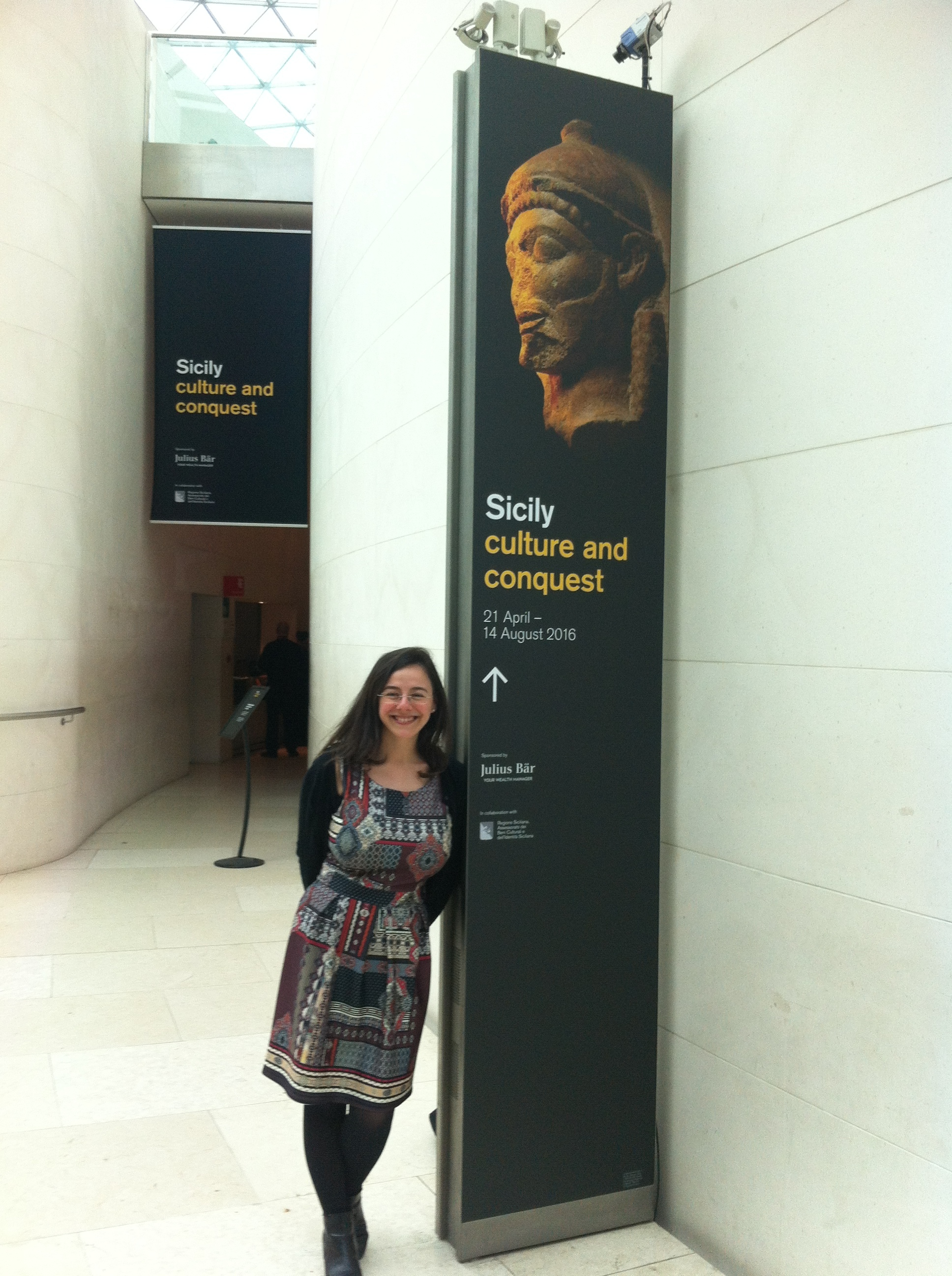 Me visiting the SicilyExhibition at the British Museum in London. Photo credits Geoff Andrews