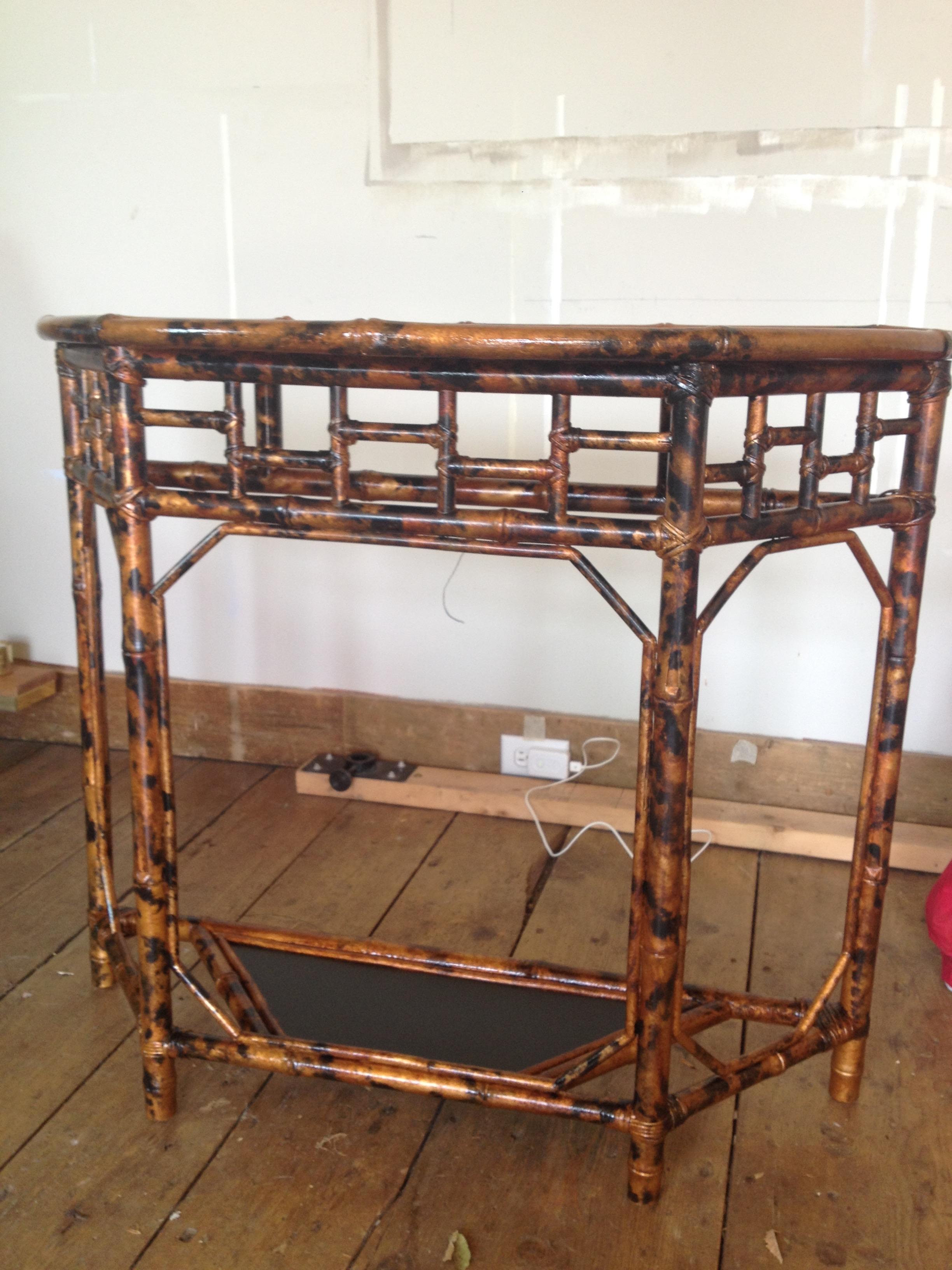 Faux tortoiseshell painted table