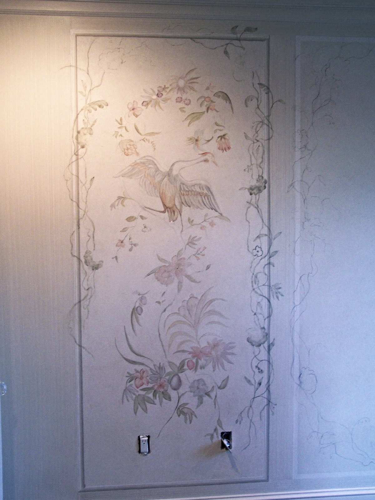 French baroque inspired bedroom panels