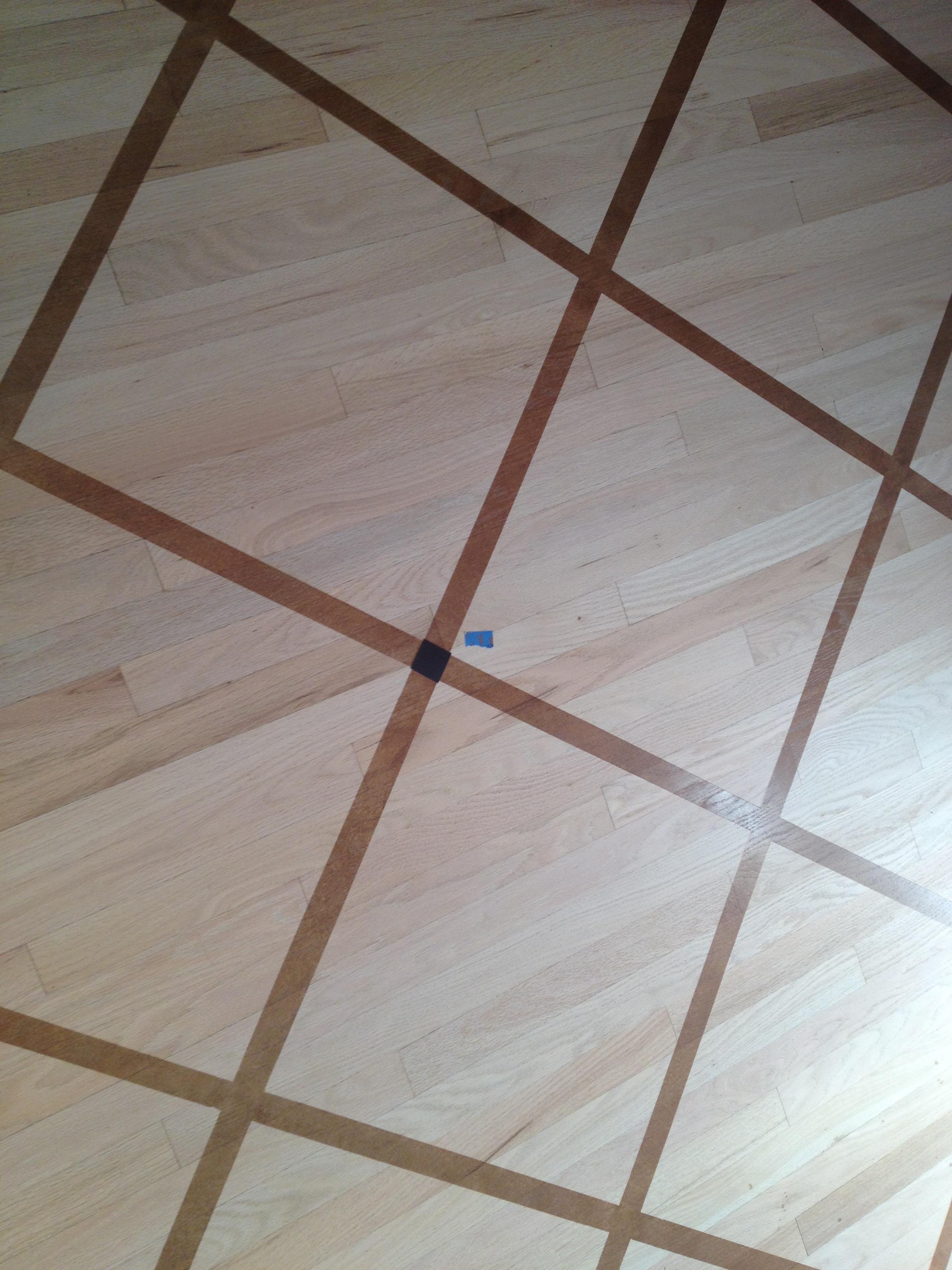 Grid pattern painted kitchen floor