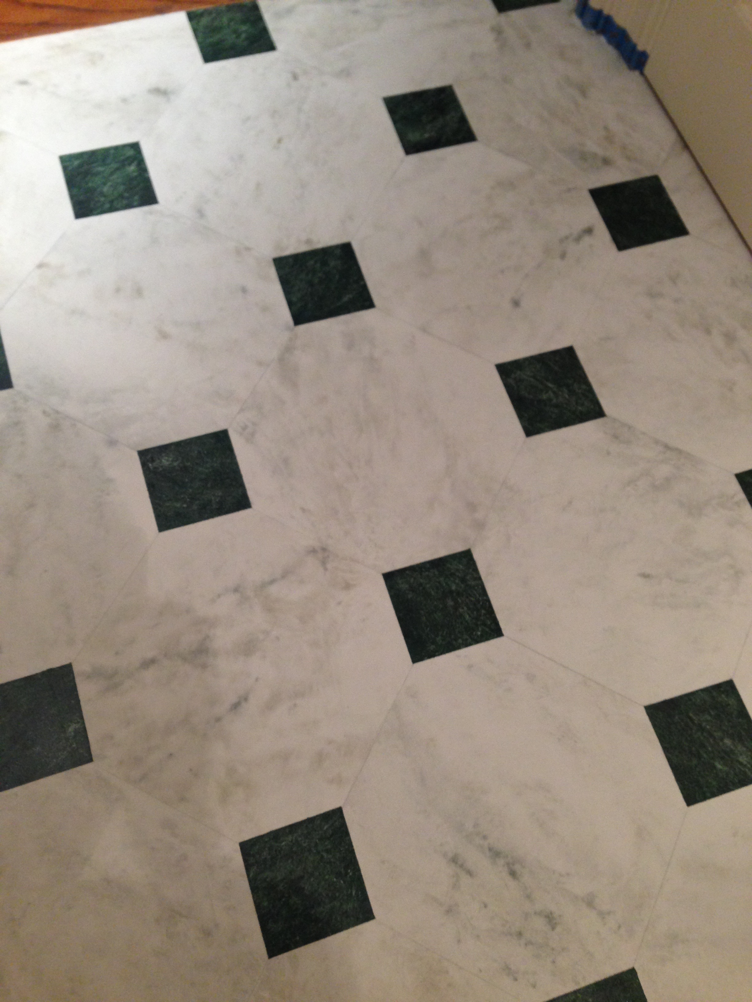 Faux marble painted floor - detail