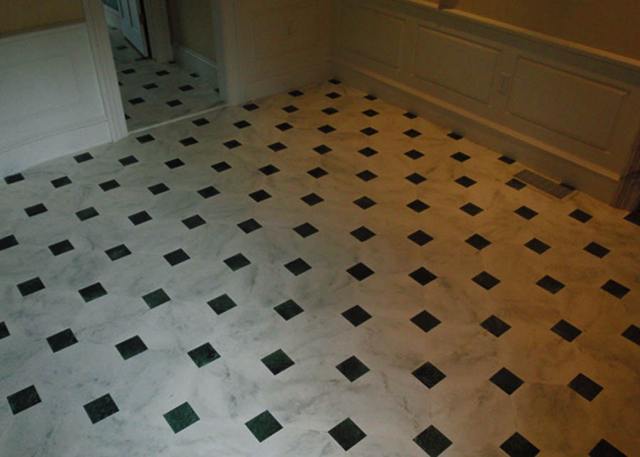 Faux marble painted floor