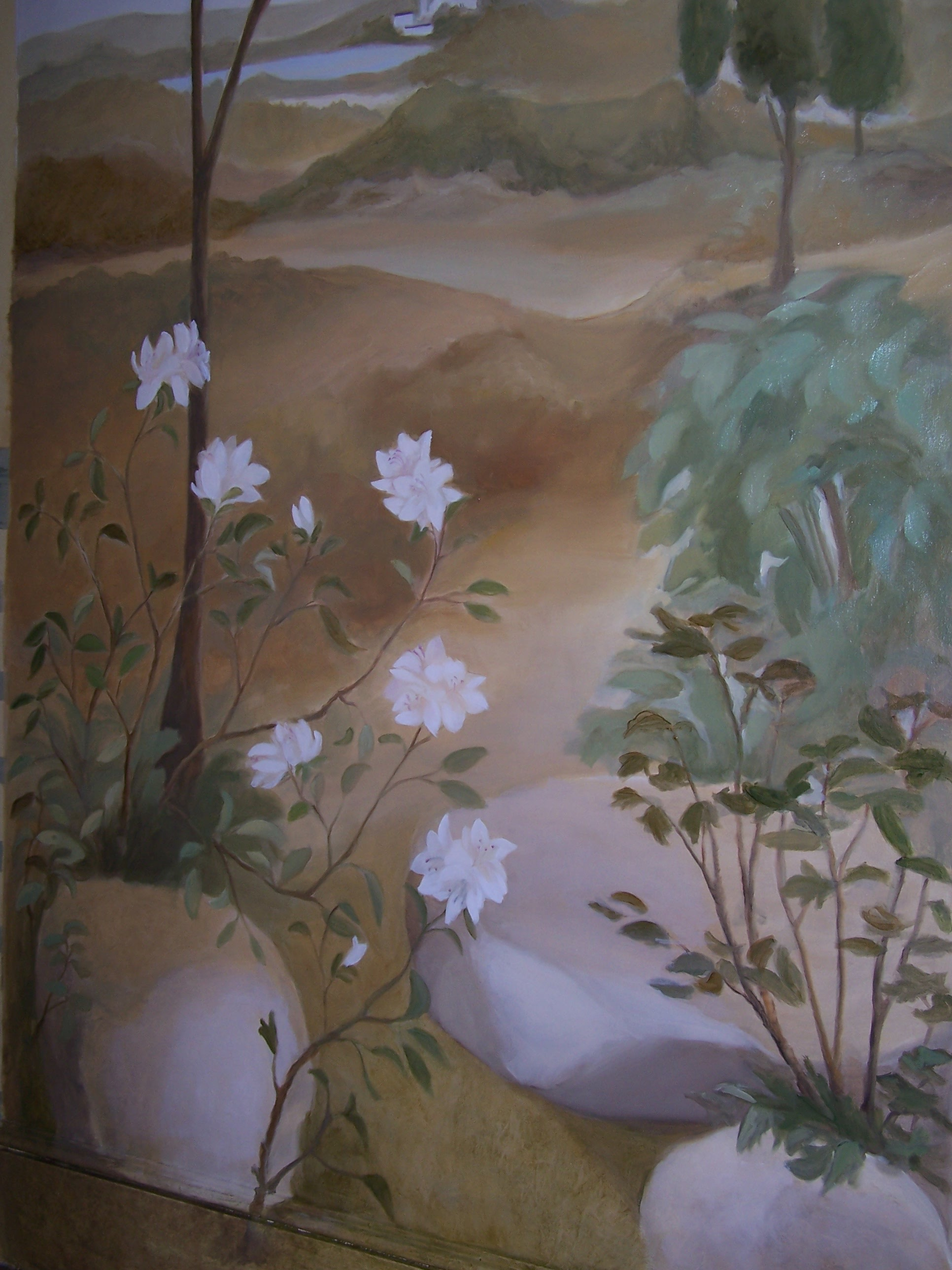 Dining room mural - detail of the garden scene
