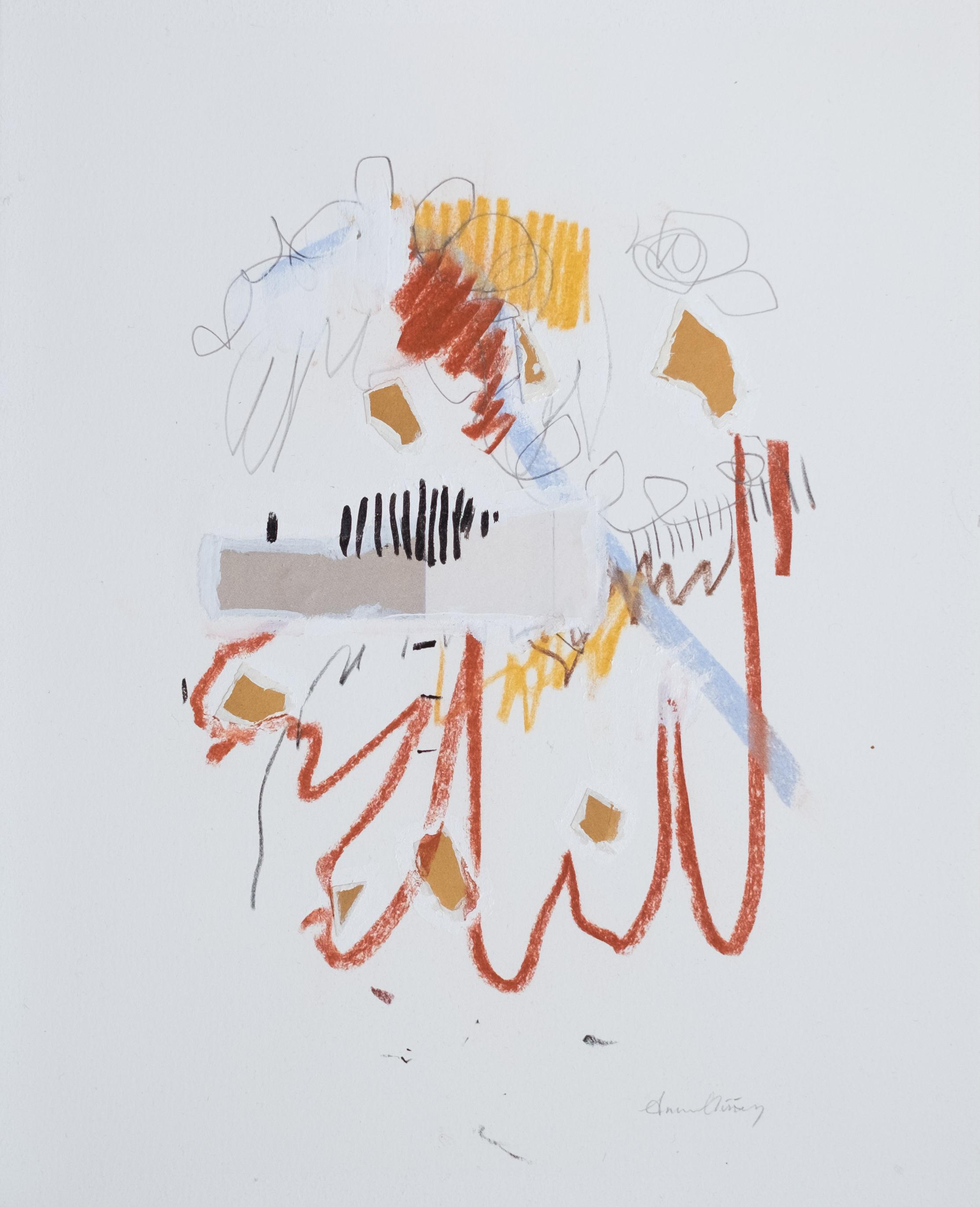 """Hudson / 11"""" x 14"""" / gesso, paper, acrylic paint, graphite, chalk pastel on cotton paper"""