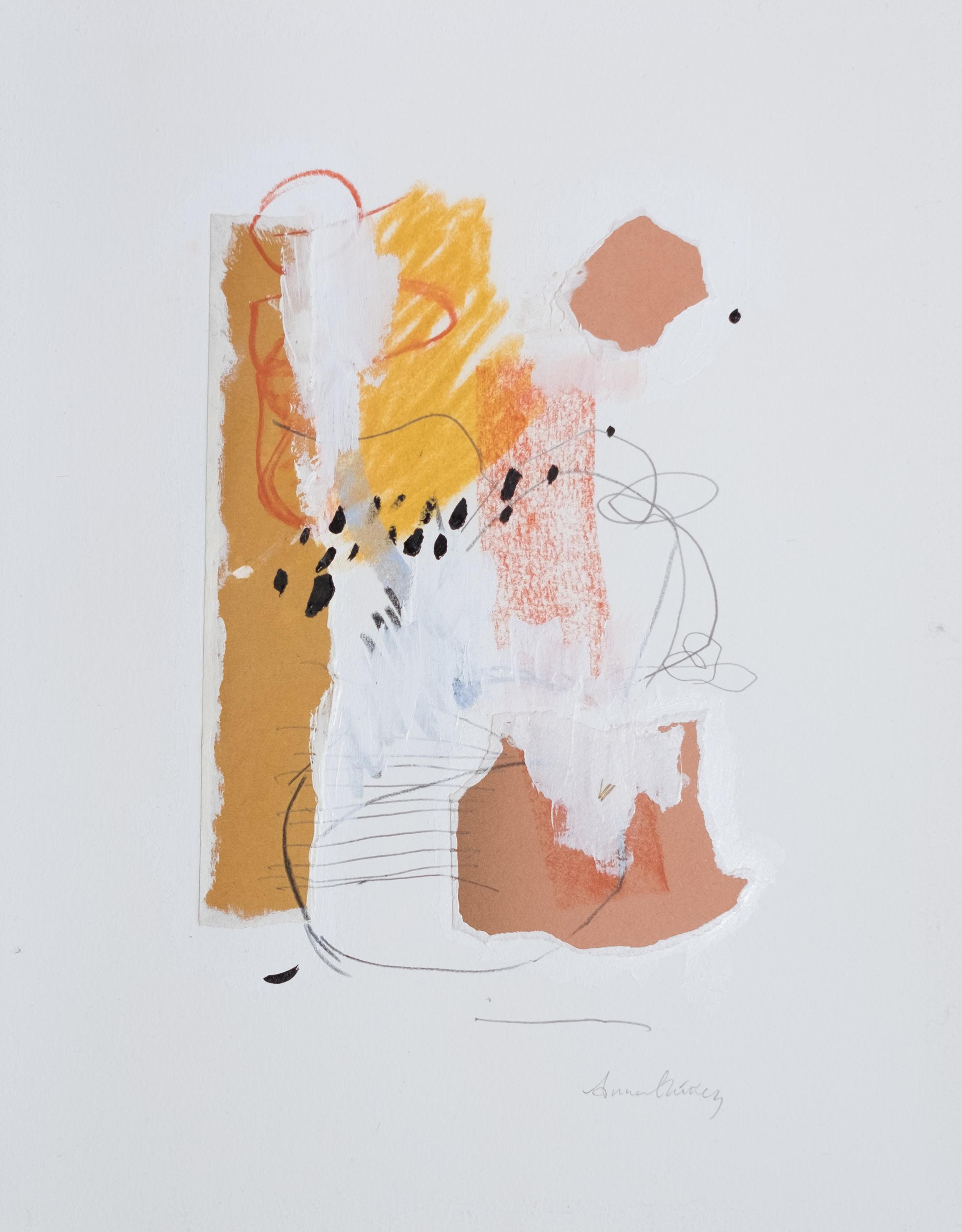 """Invitation / 11"""" x 14"""" / gesso, paper, acrylic paint, graphite, chalk pastel on cotton paper"""