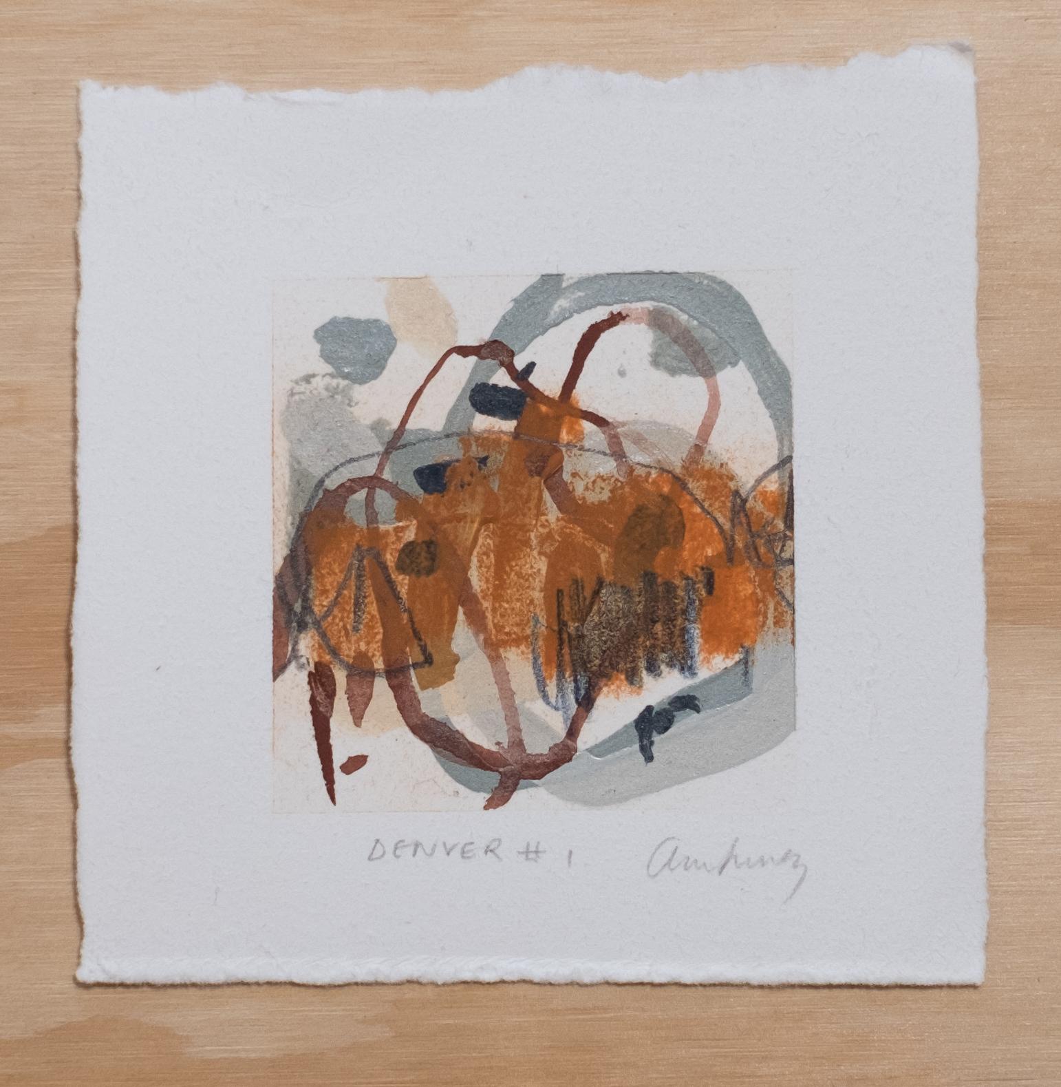 "Denver #1 / 4.5"" x 4.5"" / watercolor, acrylic paint and chalk pastel on cotton paper"