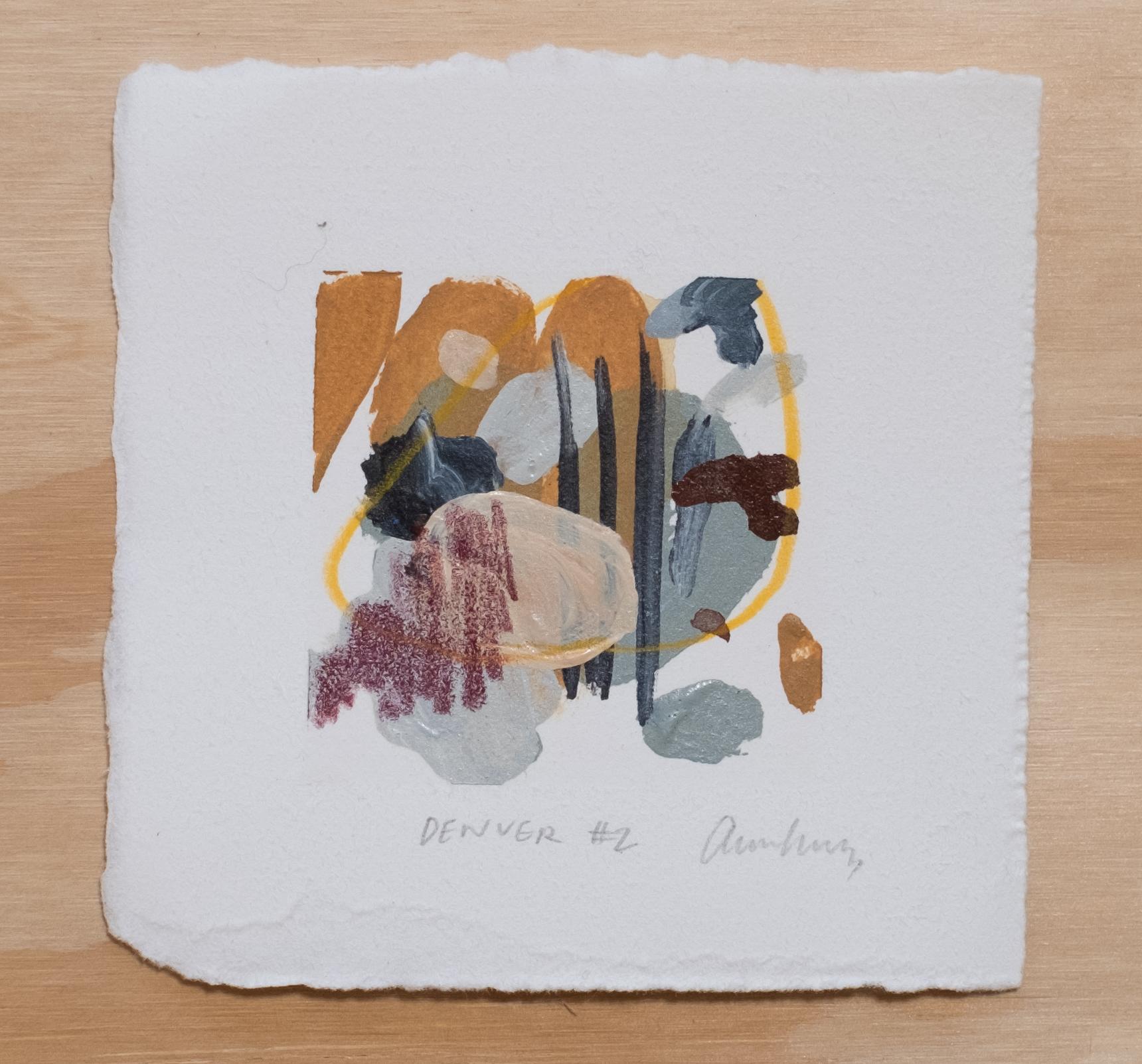 "Denver #2 / 4.5"" x 4.5"" / watercolor, acrylic paint and chalk pastel on cotton paper"