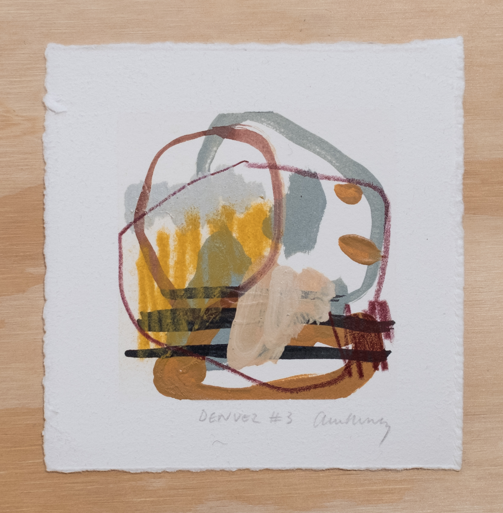 "Denver #3 / 4.5"" x 4.5"" / watercolor, acrylic paint and chalk pastel on cotton paper"