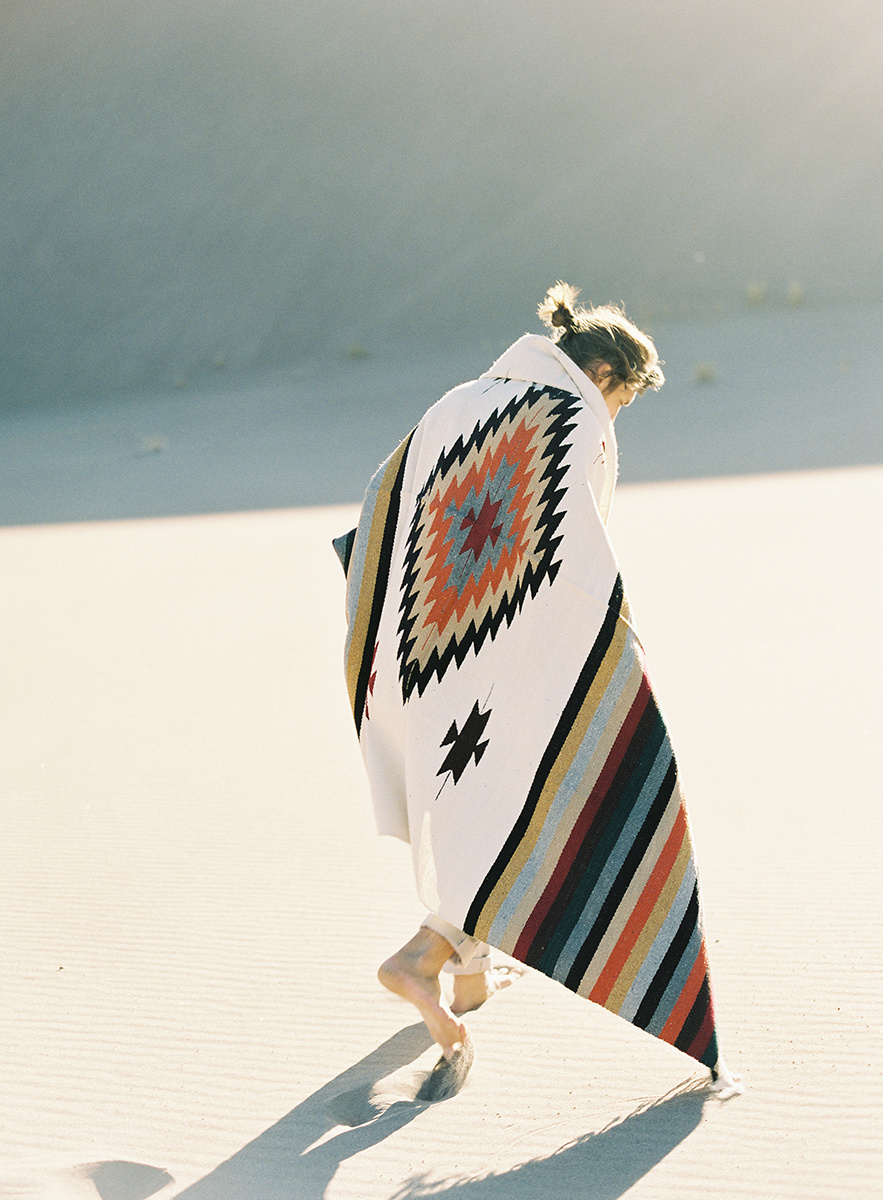 tribal blanket at colorado sand dunes on film