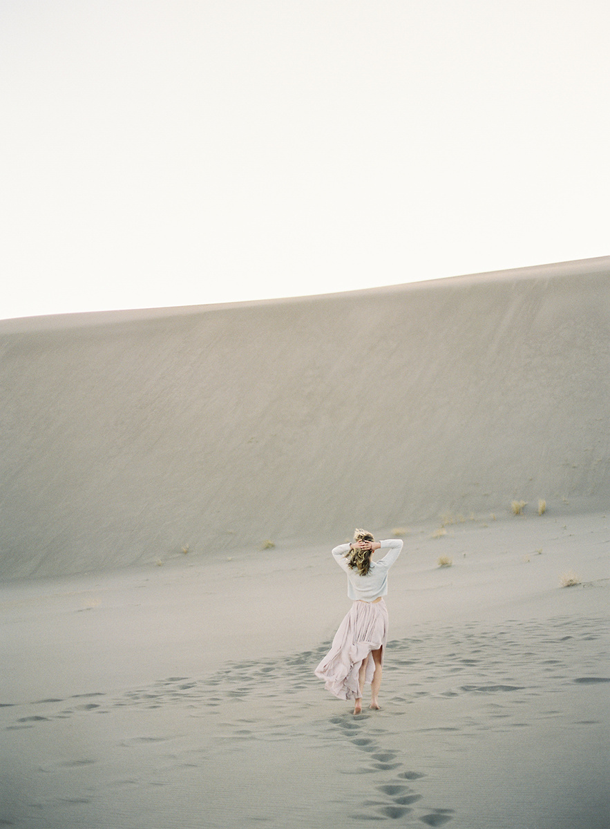 wind blown dress at the sand dunes on film