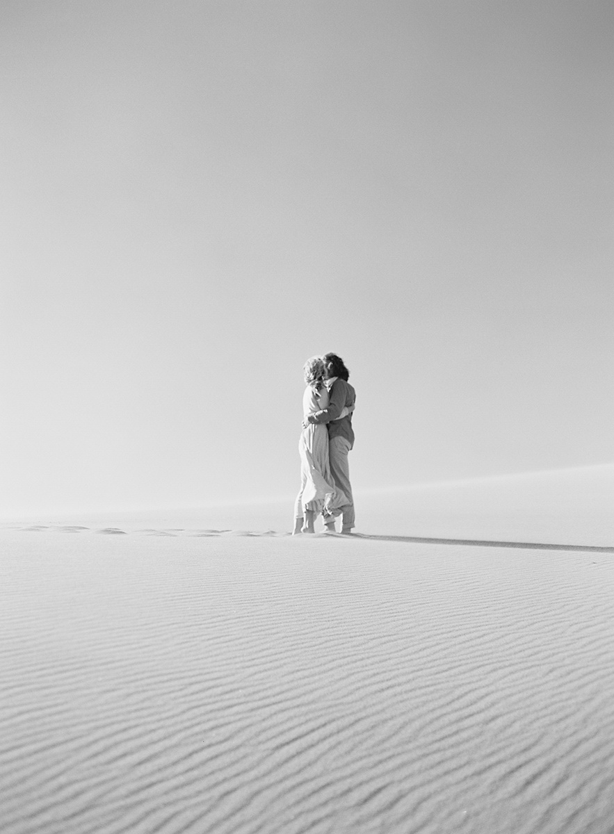 romantic black and white image on film