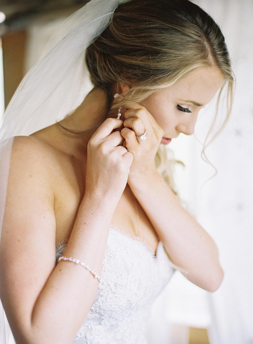 Bride getting ready on film