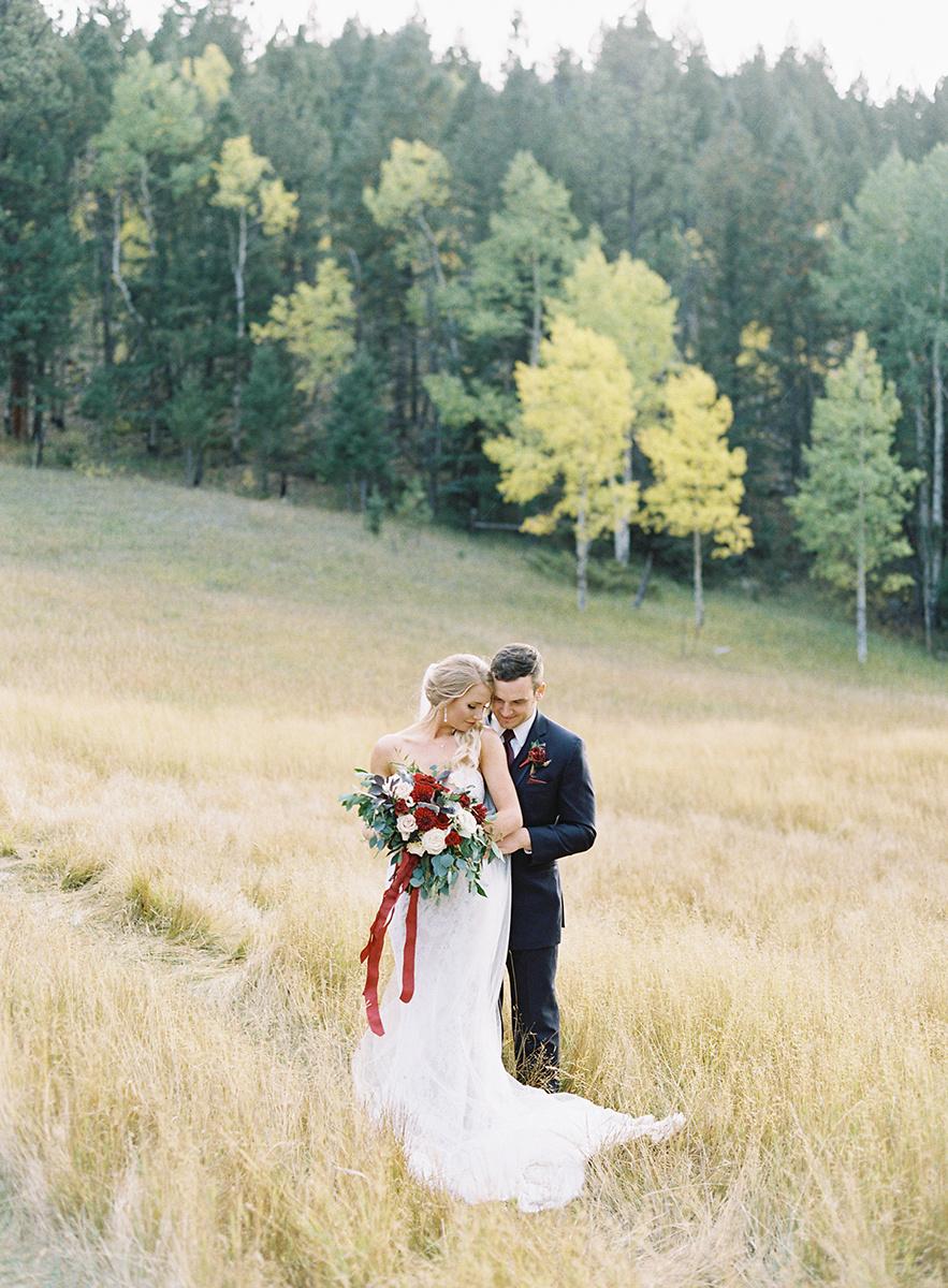 Romantic Fall Bride and Groom on Film