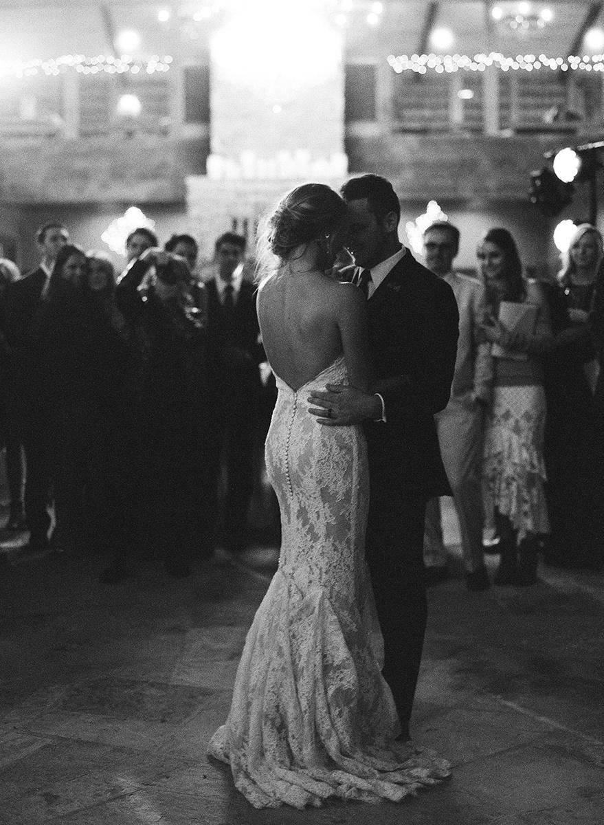 Romantic Bride and Groom Dancing on Film