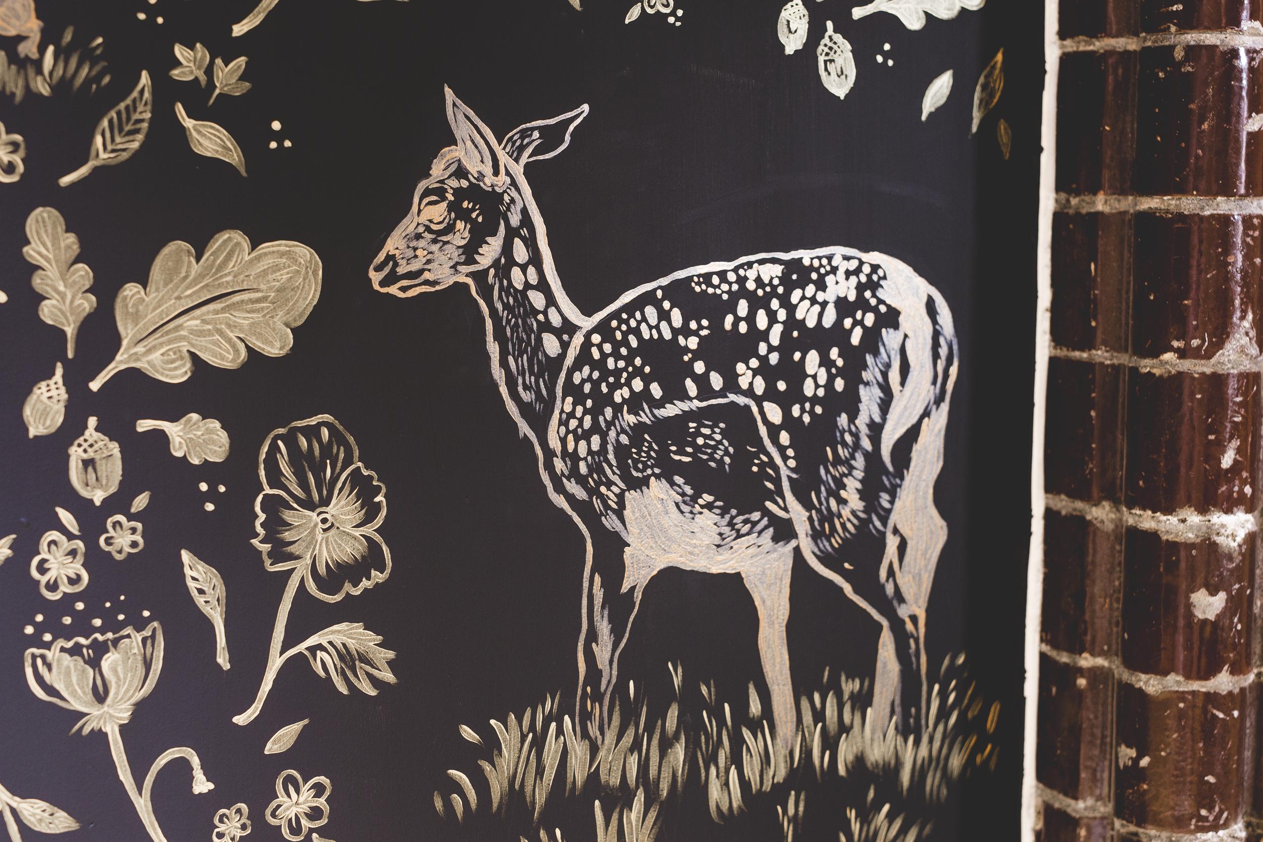 Malt Cross Mural Deer Close-Up