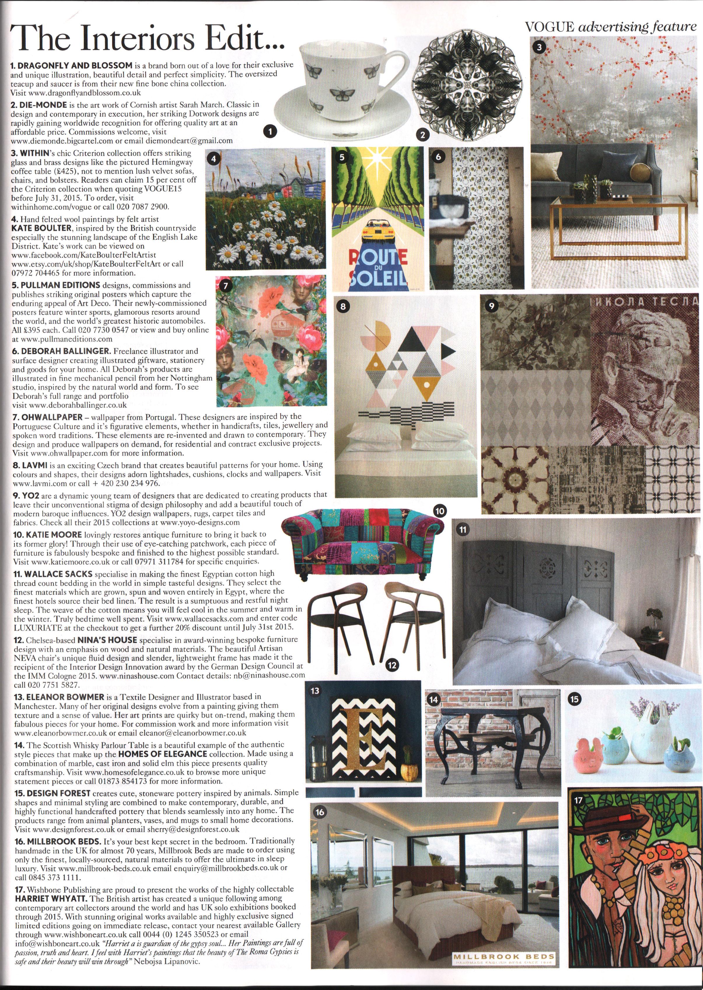 Vogue Interiors Edit, July 2015
