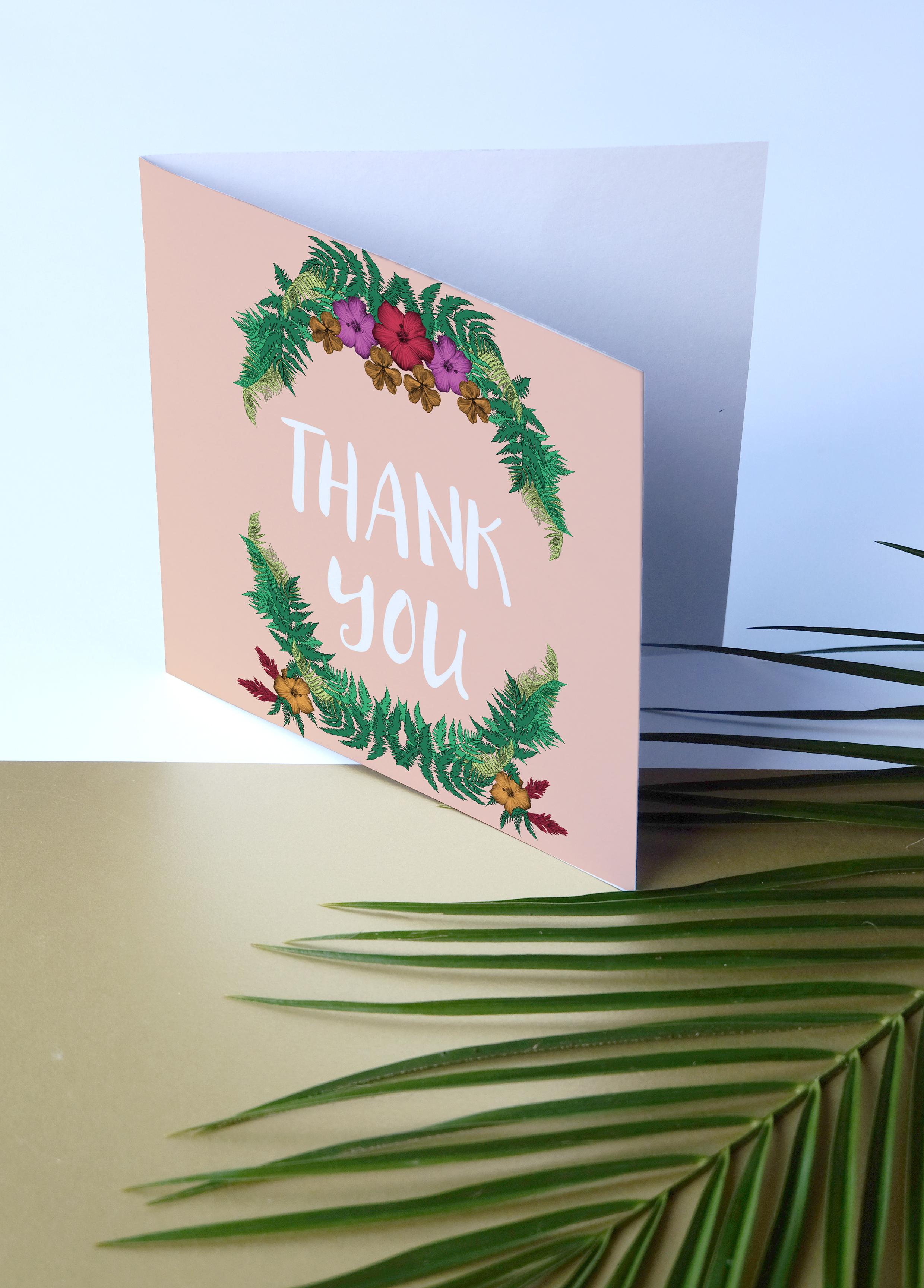 Deborah Panesar Tropical Wedding Thank You Card