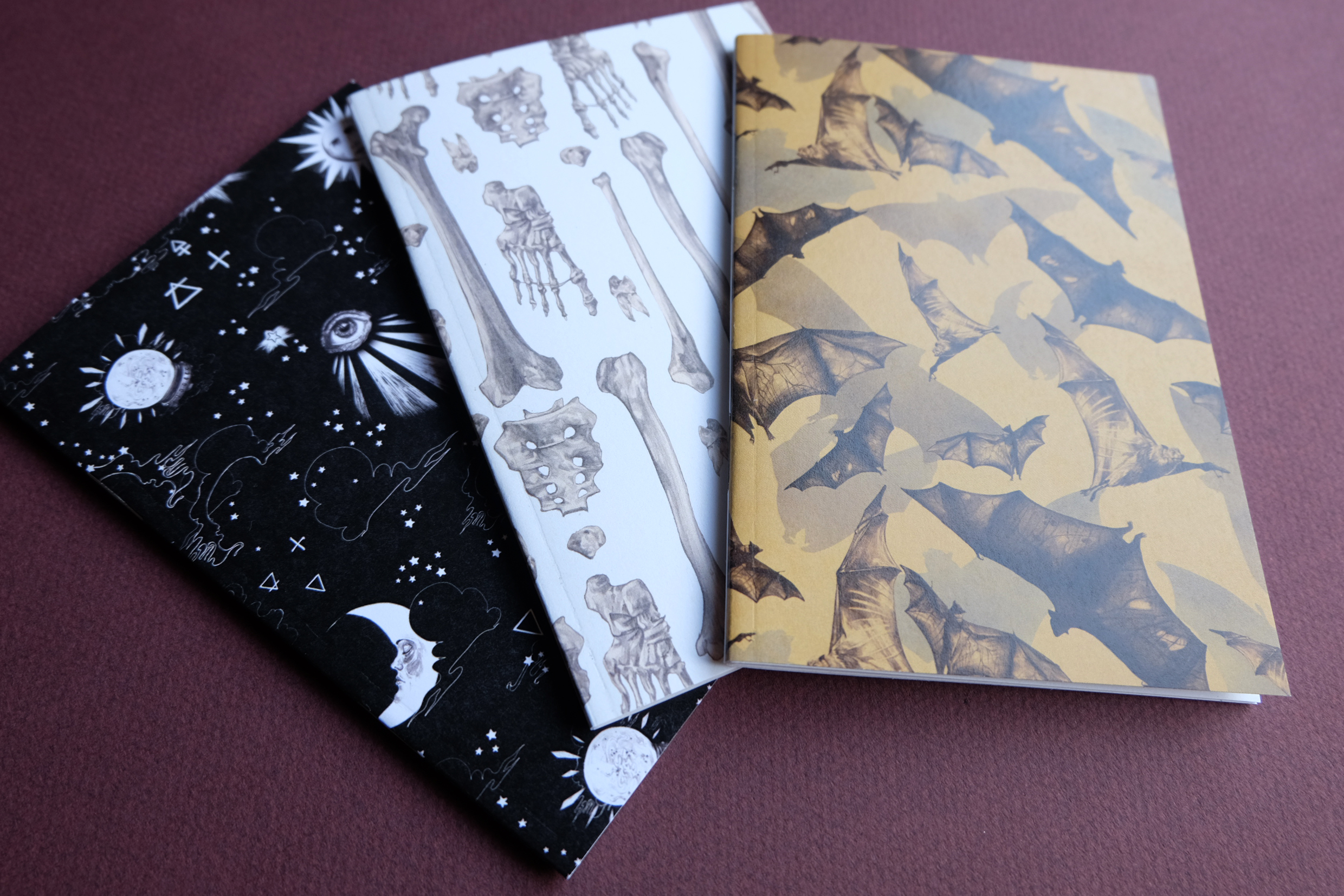 A6 mini sketchbooks - available in 5 designs including my Spiritual Alchemy print, Bones and Bats.