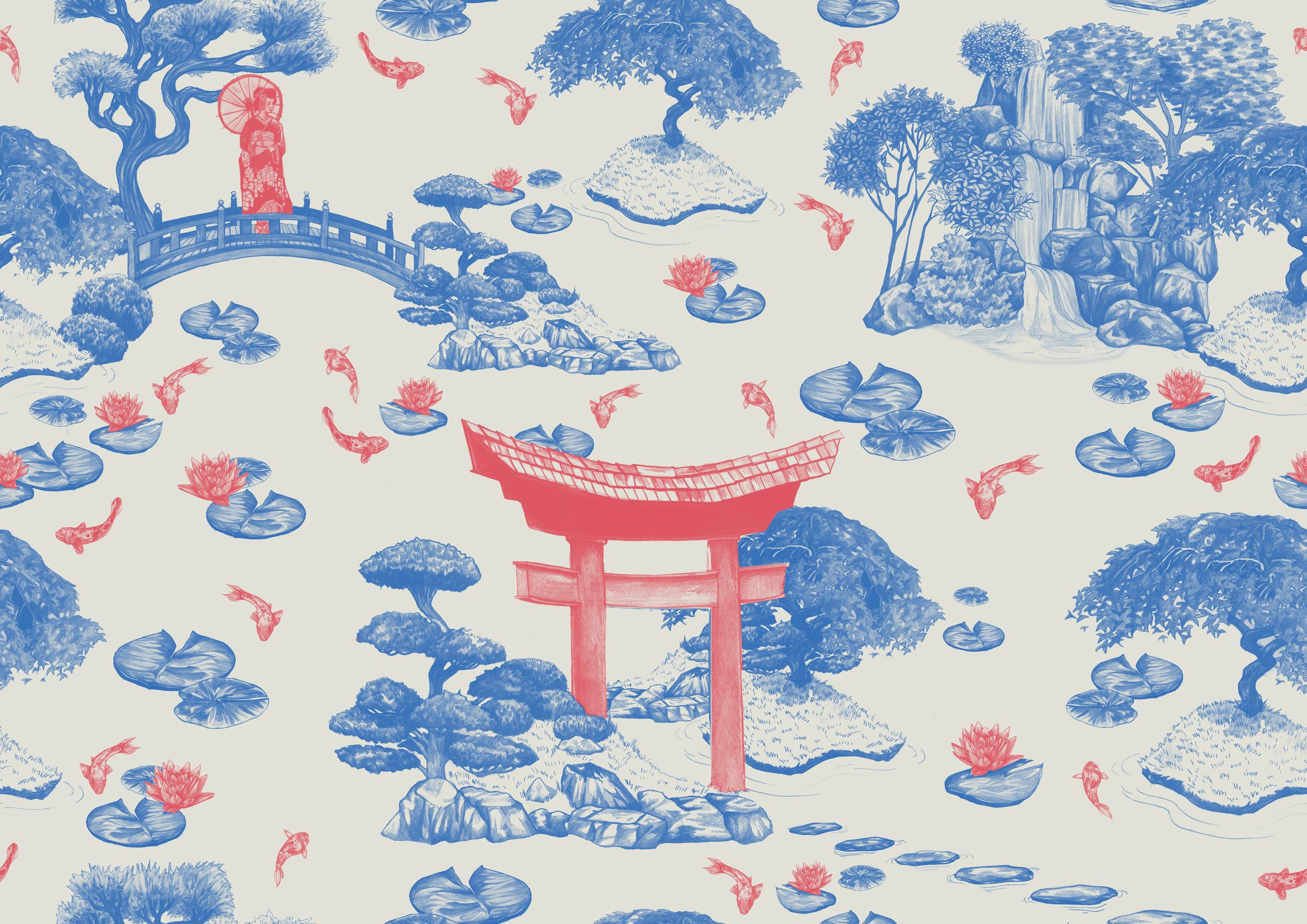 J apanese Garden print created for Spoonflower