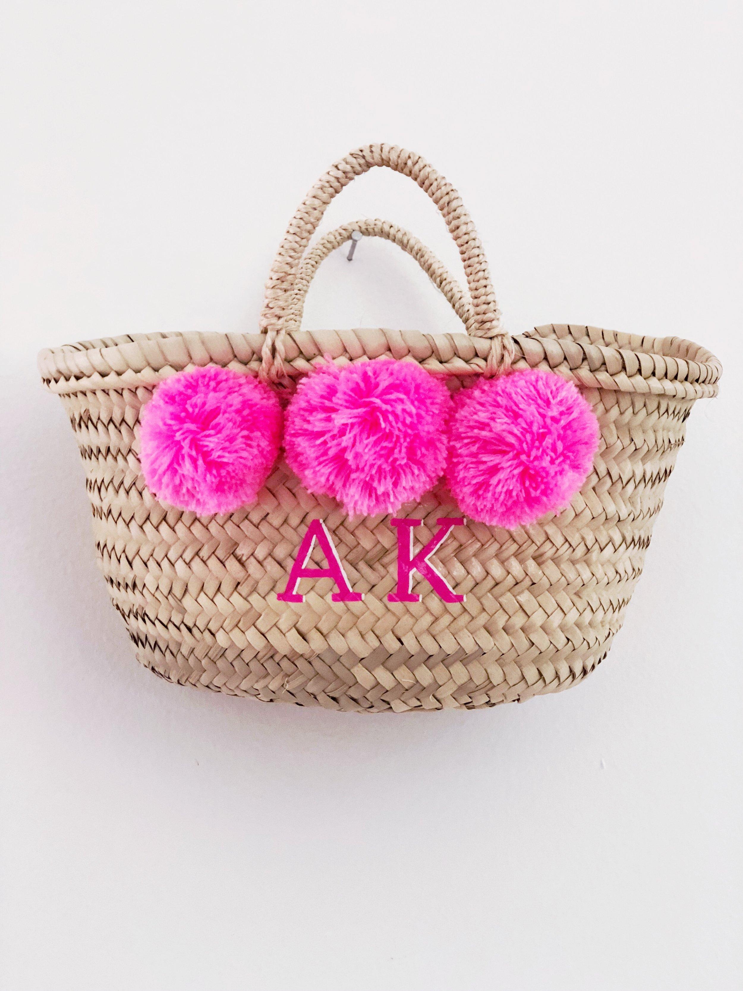 Custom Bright Pink Mini Pom Basket