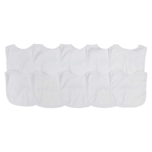 - Under $10 and my tried and true bibs for a chronic spitter upper. I also paint these for friends and may bring them back on the site. They are a great canvas for iron ons as well. Great for shower craft stations, get them embroidered etc etc etc! Wash very well and for the price, you cannot beat them.